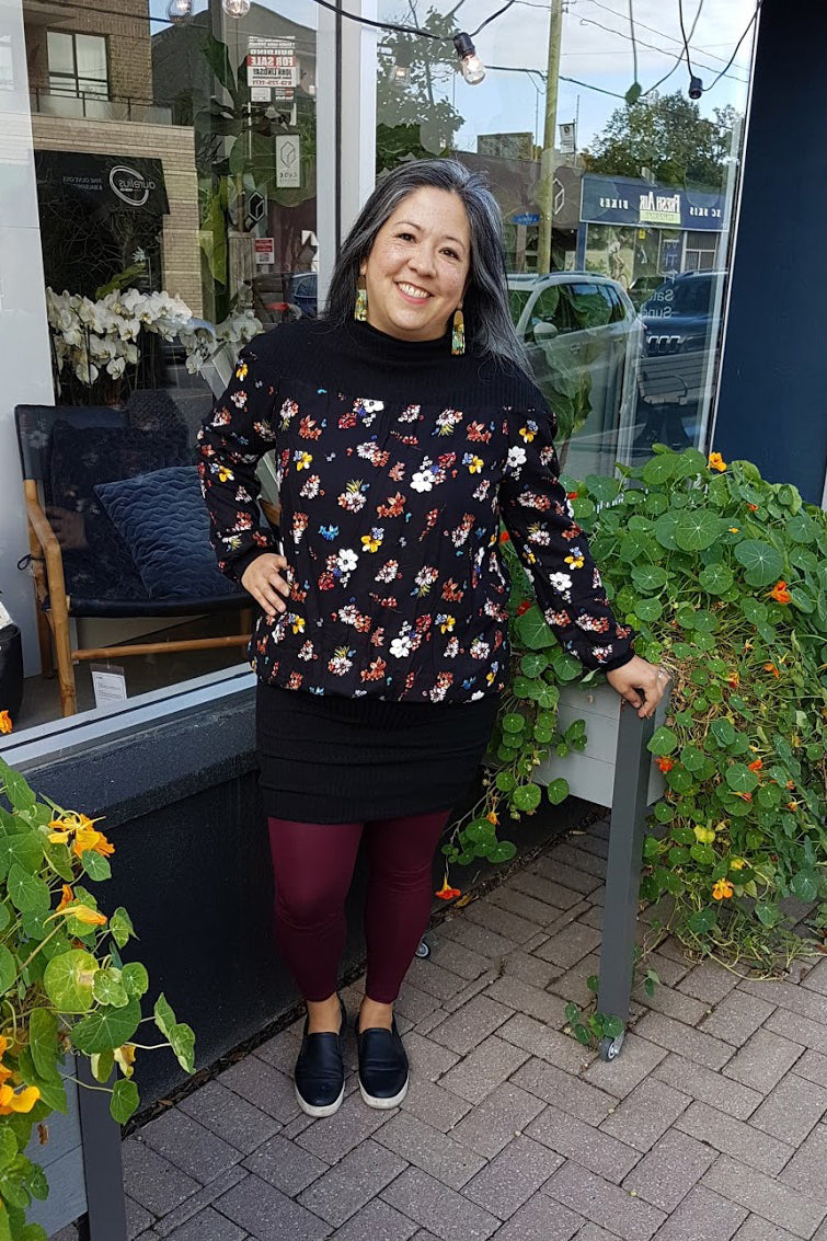 Zelda Dress in Floral, Melow by Melissa Bolduc. Available in sizes Xs to XXL made in Montreal