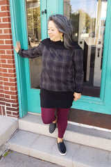 Zelda Dress in Tartan, Melow by Melissa Bolduc. Available in sizes Xs to XXL made in montreal