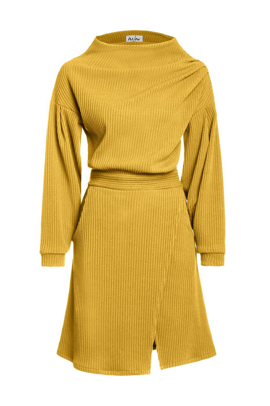Zodiak Dress in Mustard from Melow by Melissa Bolduc, avaialbe in sizes xs to xl