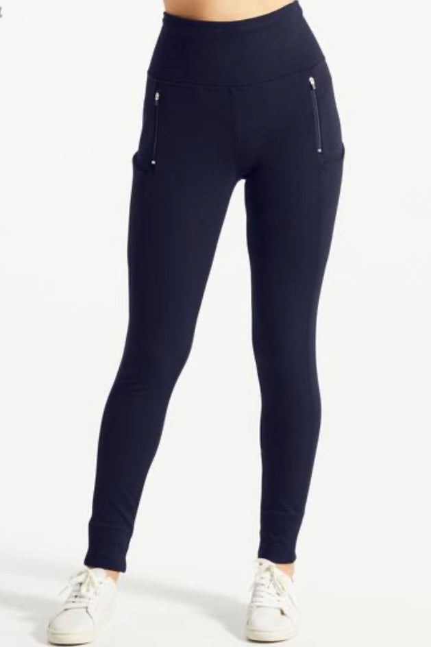 ZOF Pant by Fig, front view, skinny leg, mid-rise, navy blue, front zipper pockets, wide waistband