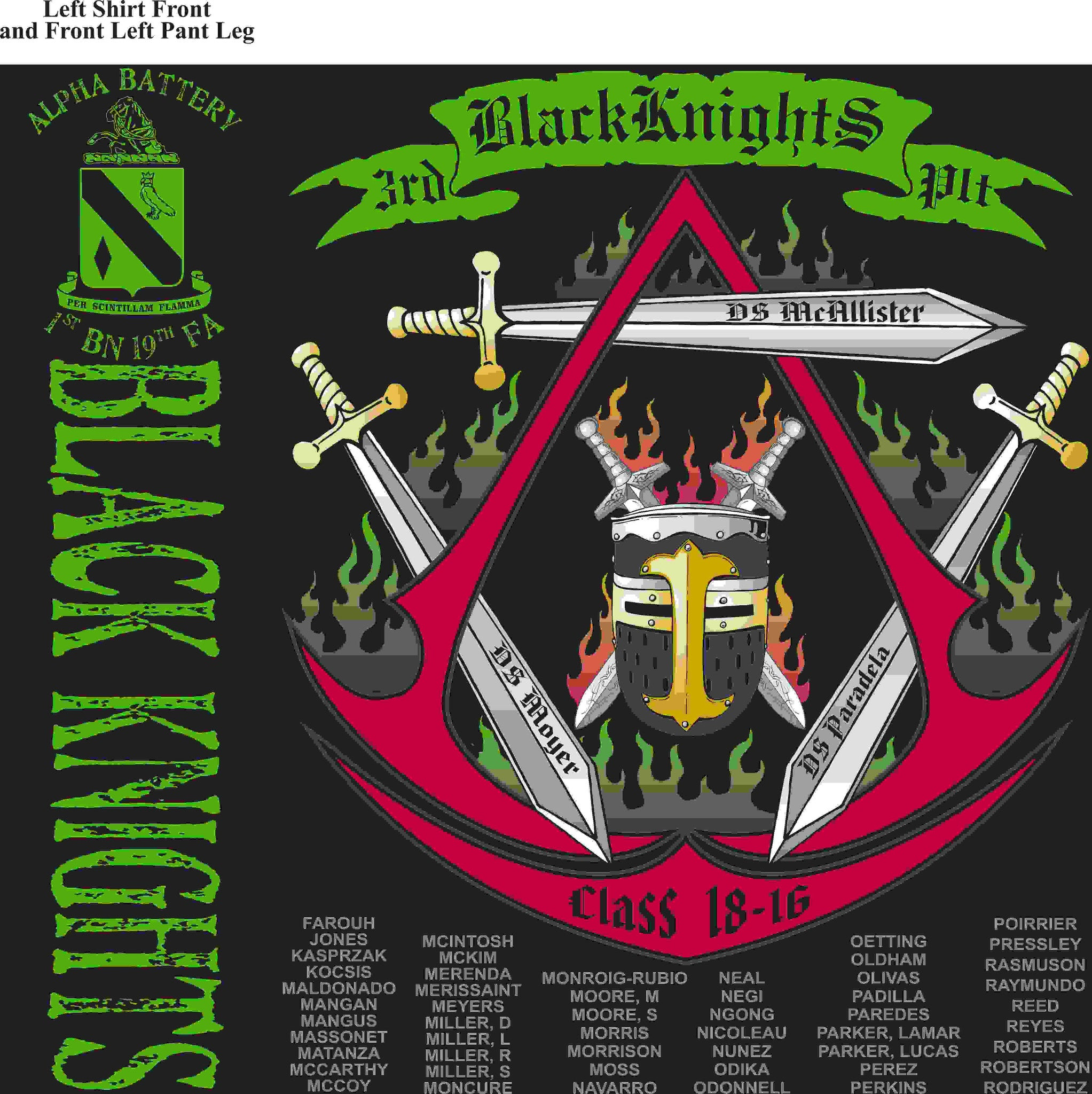 PLATOON SHIRTS (2nd generation print) ALPHA 1st 19th BLACK KNIGHTS MAR 2016