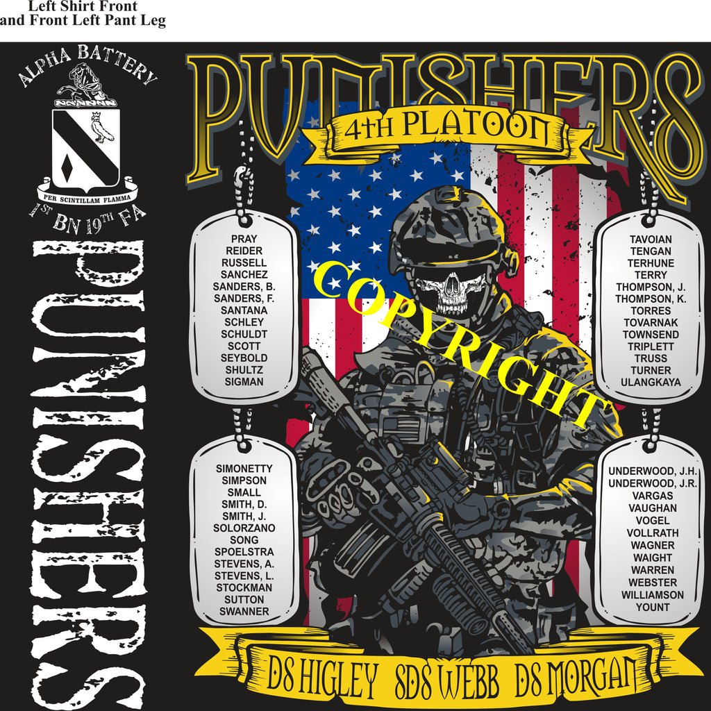 Platoon Shirts (2nd generation print) ALPHA 1st 19th PUNISHERS APR 2019