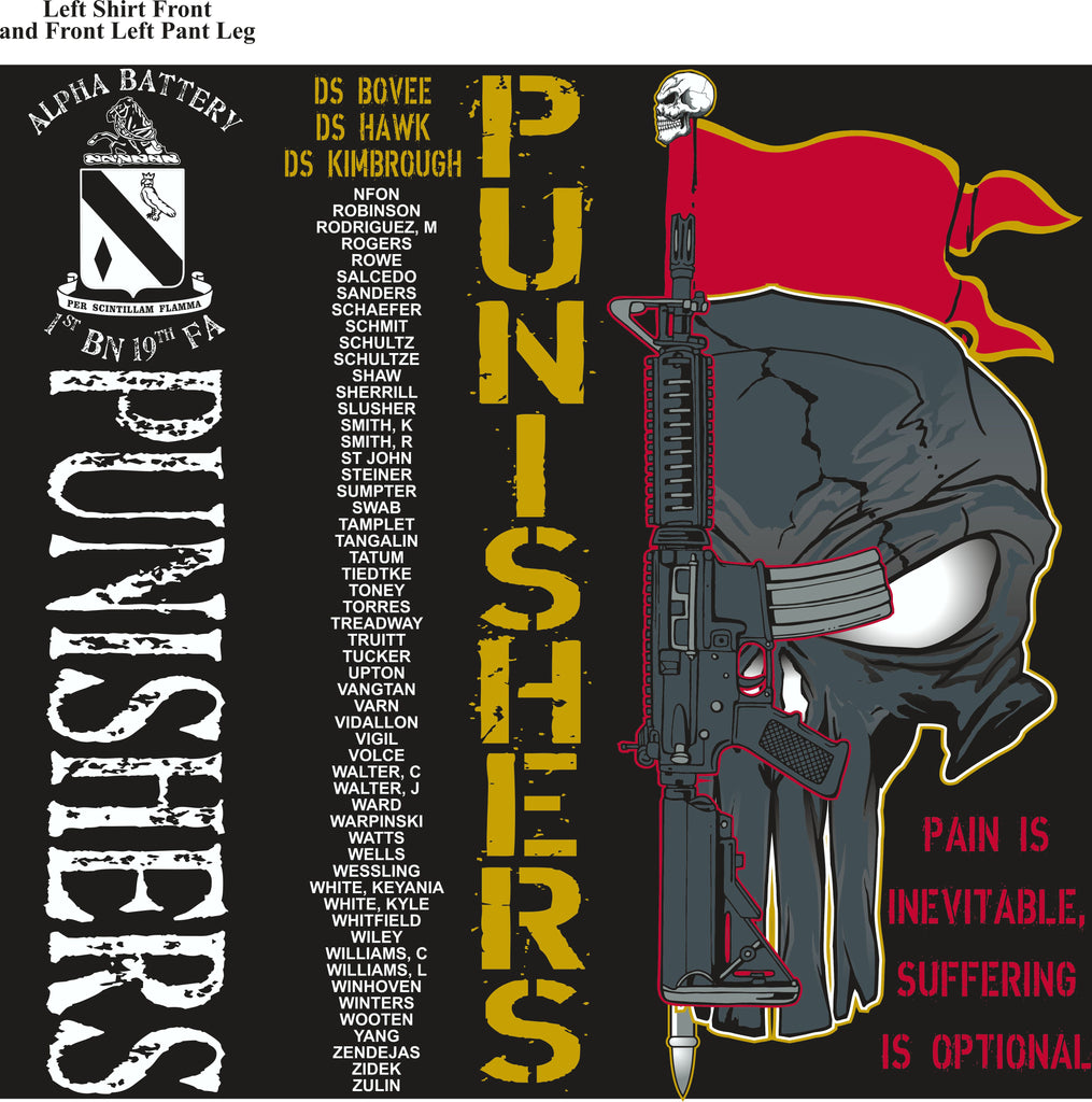 Platoon Shirts (2nd generation print) ALPHA 1st 19th PUNISHERS JULY 2018
