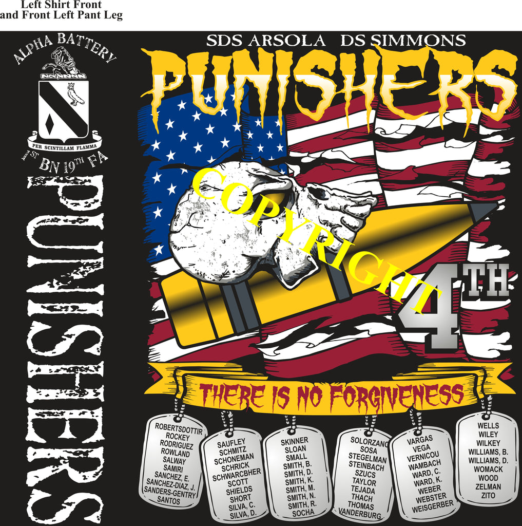 Platoon Shirts (2nd generation print) ALPHA 1st 19th PUNISHERS OCT 2019