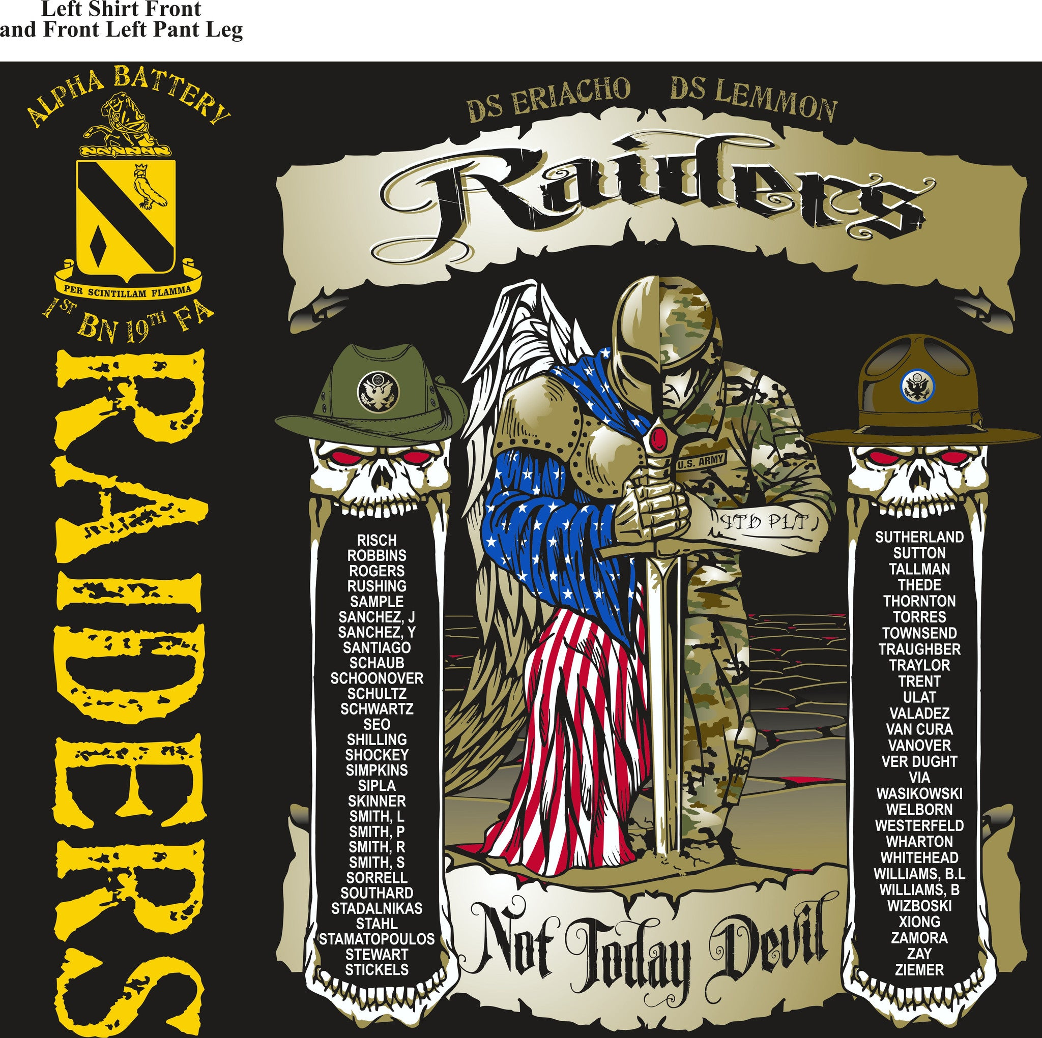 PLATOON SHIRTS (2nd generation print) ALPHA 1st 19th RAIDERS SEPT 2016
