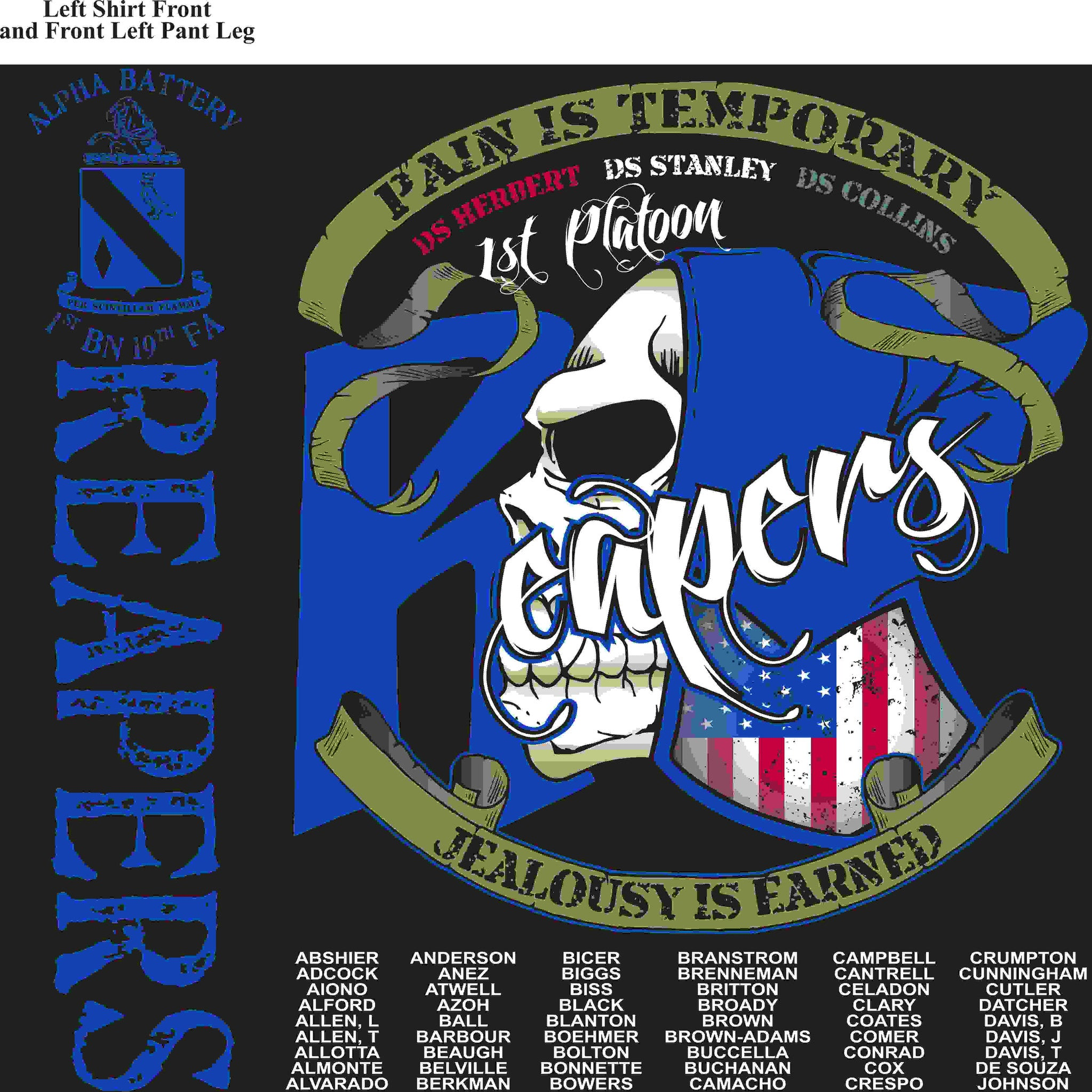 PLATOON SHIRTS (2nd generation print) ALPHA 1st 19th REAPERS MAR 2016