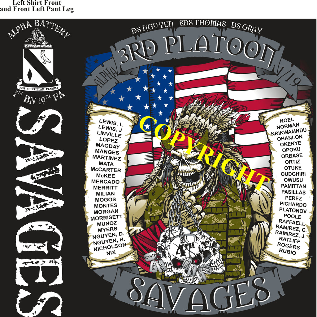 Platoon Shirts (2nd generation print) ALPHA 1st 19th SAVAGES APR 2019