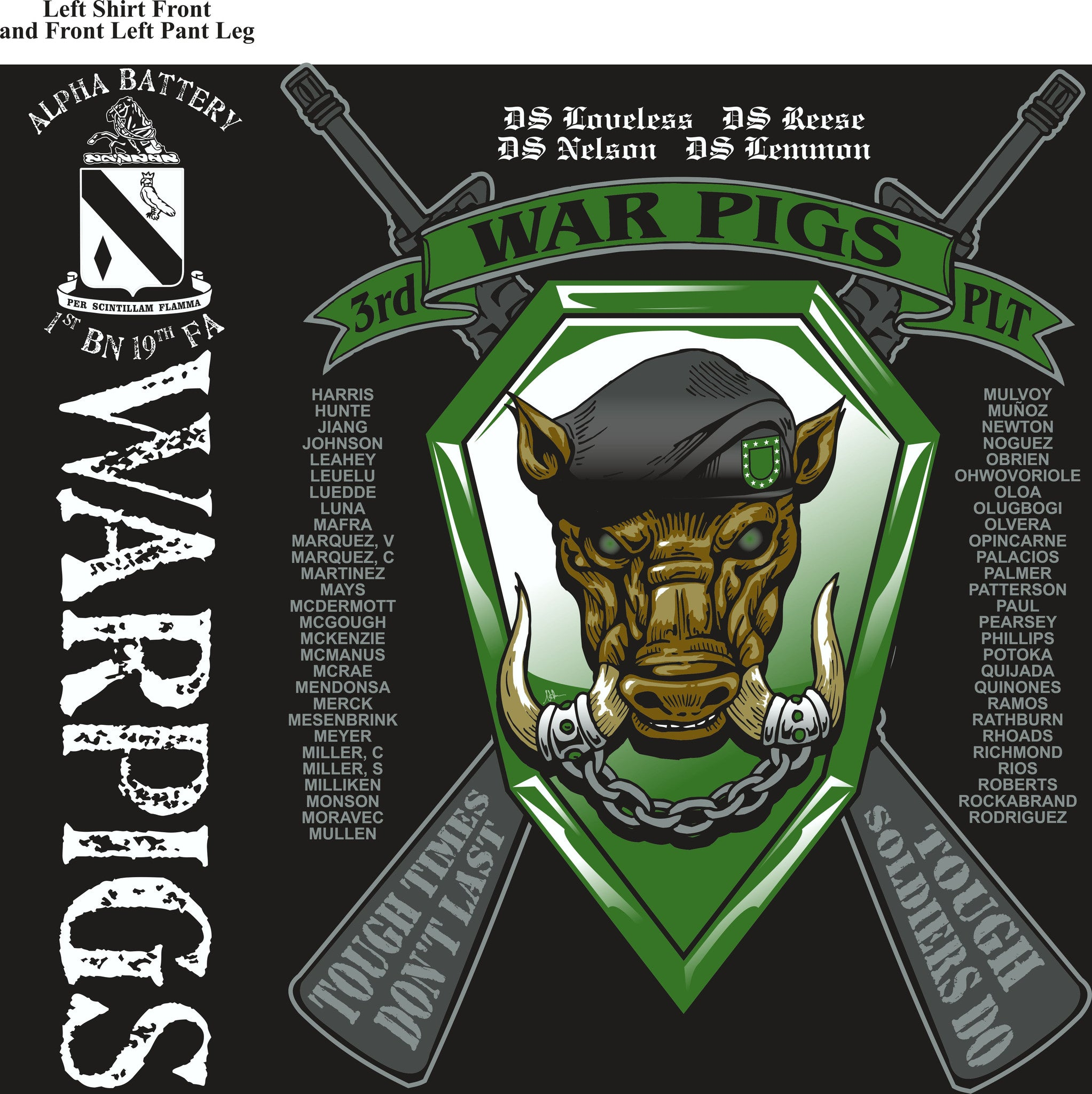 PLATOON SHIRTS (2nd generation print) ALPHA 1st 19th WARPIGS DEC 2016