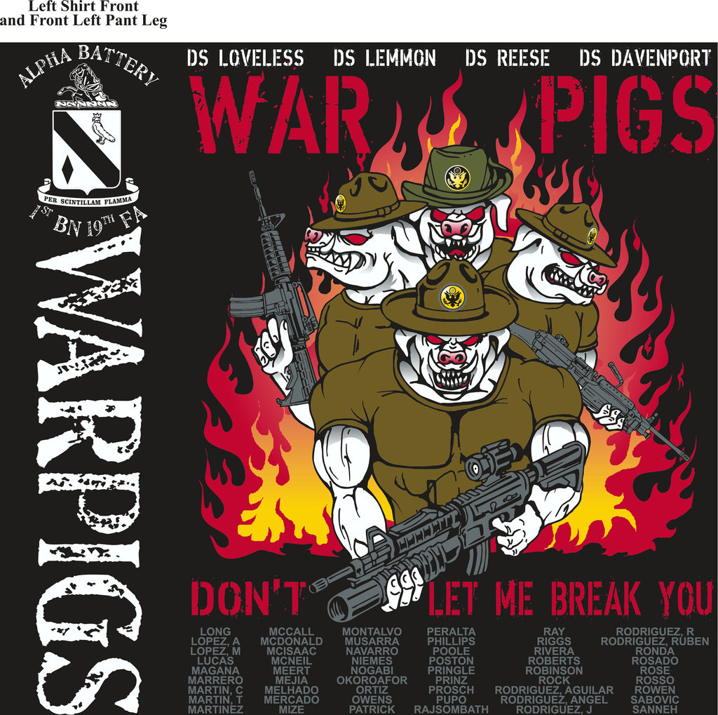 PLATOON SHIRTS (2nd generation print) ALPHA 1st 19th WAR PIGS MAR 2017