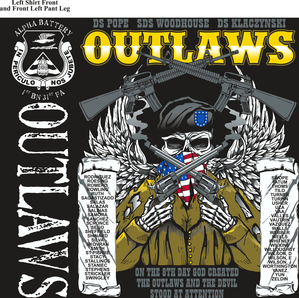 PLATOON SHIRTS (2nd generation print) ALPHA 1st 31st OUTLAWS NOV 2016