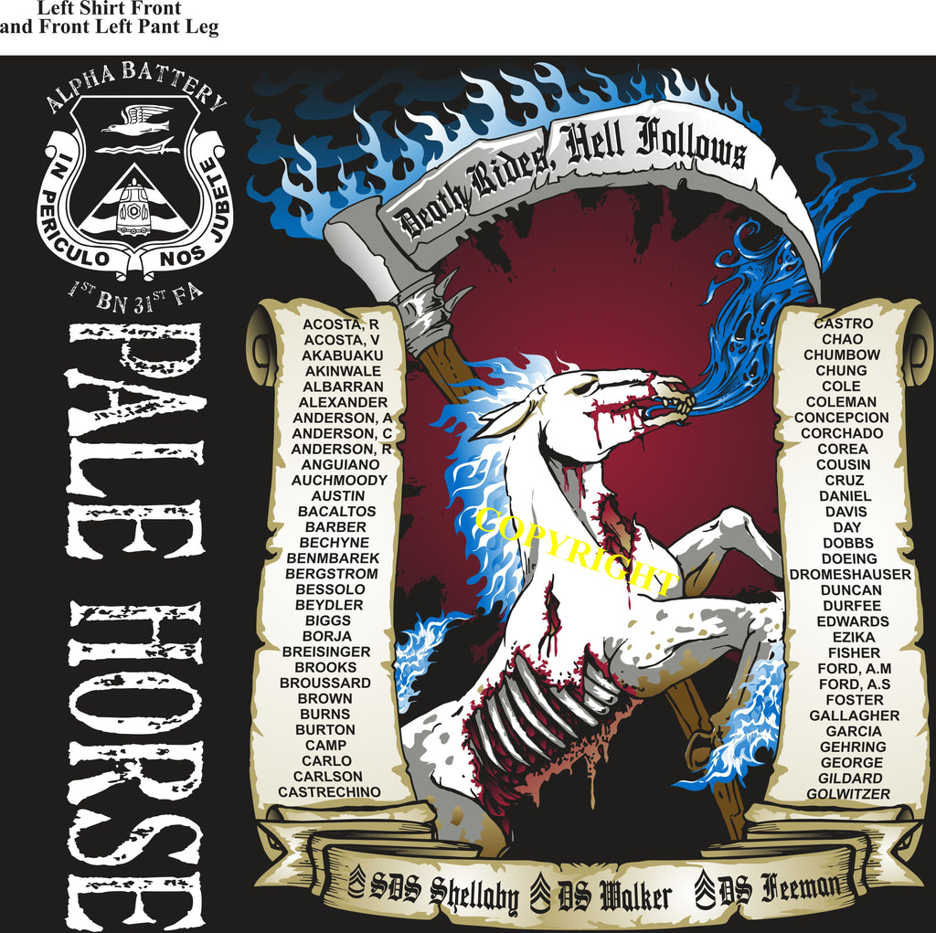 Platoon Shirts (2nd generation print) ALPHA 1st 31st Pale Horse DEC 2018