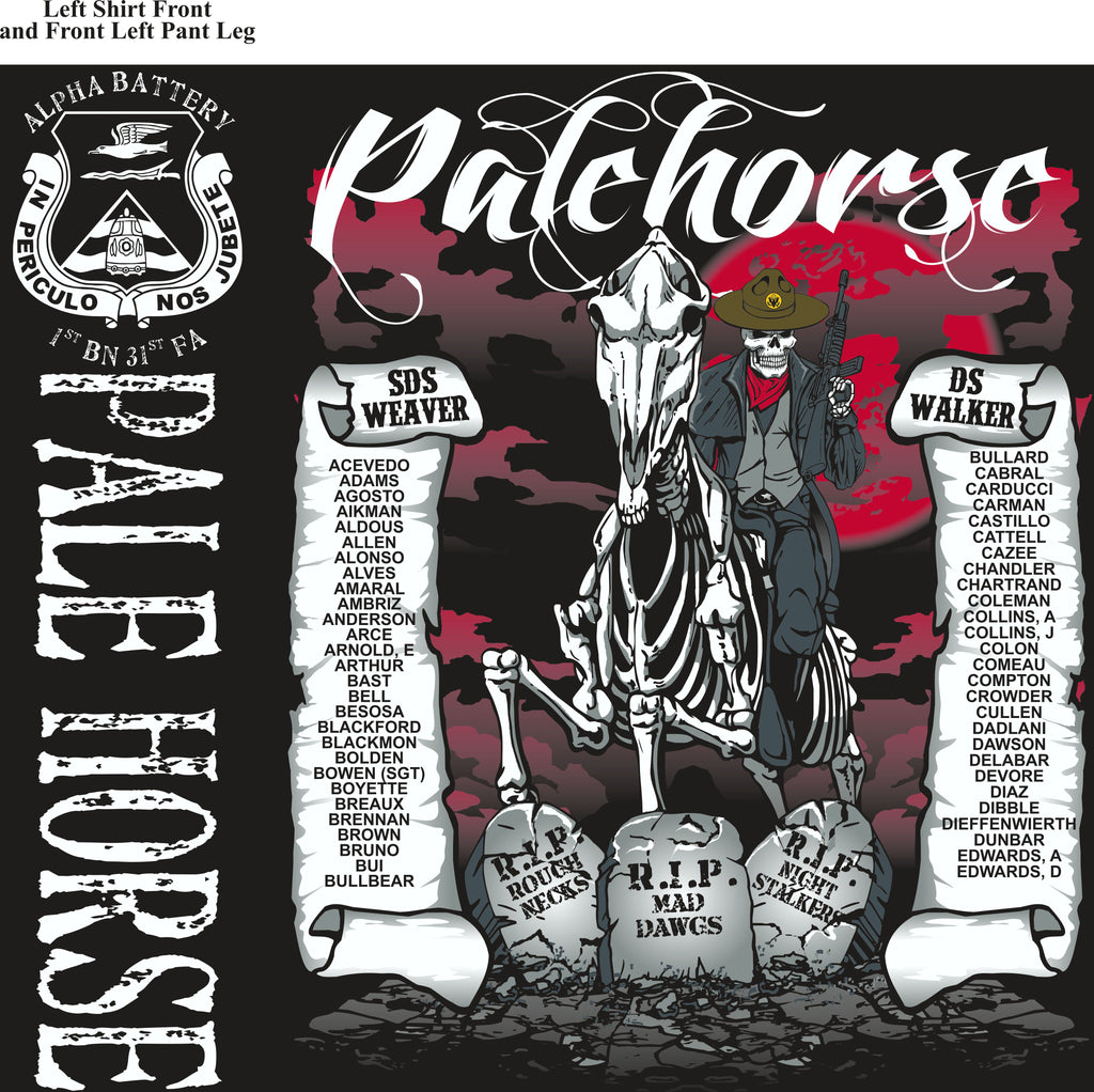 Platoon Shirts (2nd generation print) ALPHA 1st 31st PALE HORSE SEPT 2018