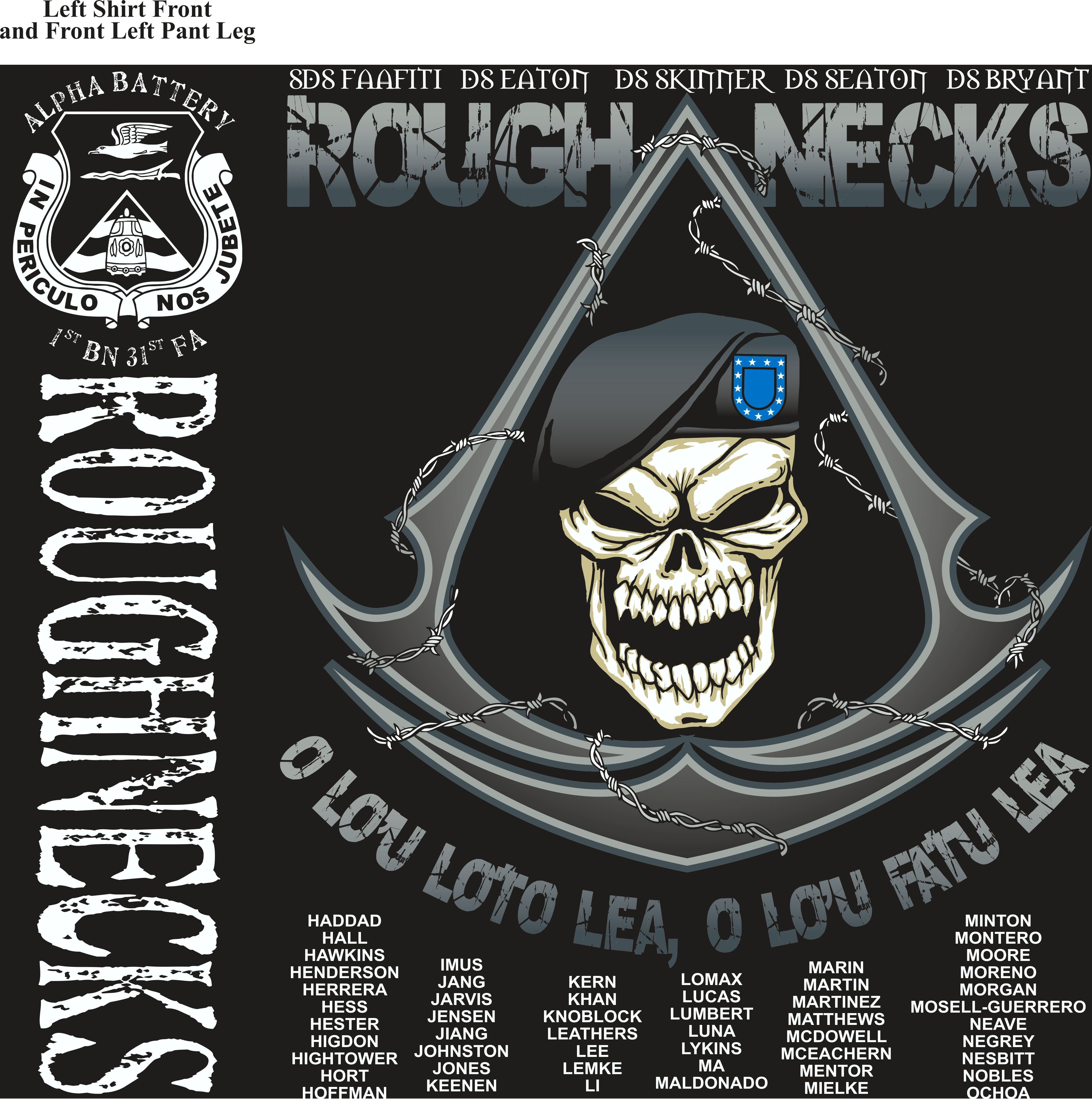 Platoon Shirts (2nd generation print) ALPHA 1st 31st ROUGHNECKS JUNE 2018