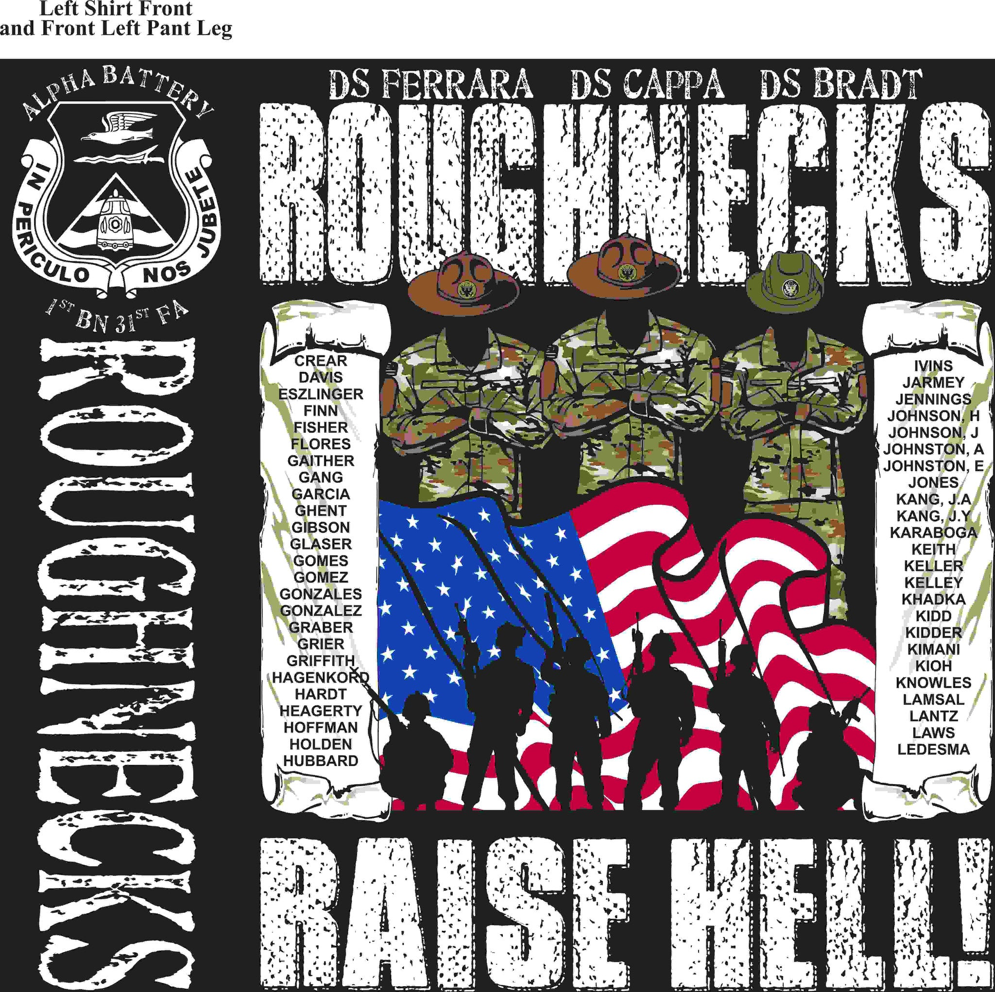 PLATOON SHIRTS (2nd generation print) ALPHA 1st 31st ROUGHNECKS MAY 2016