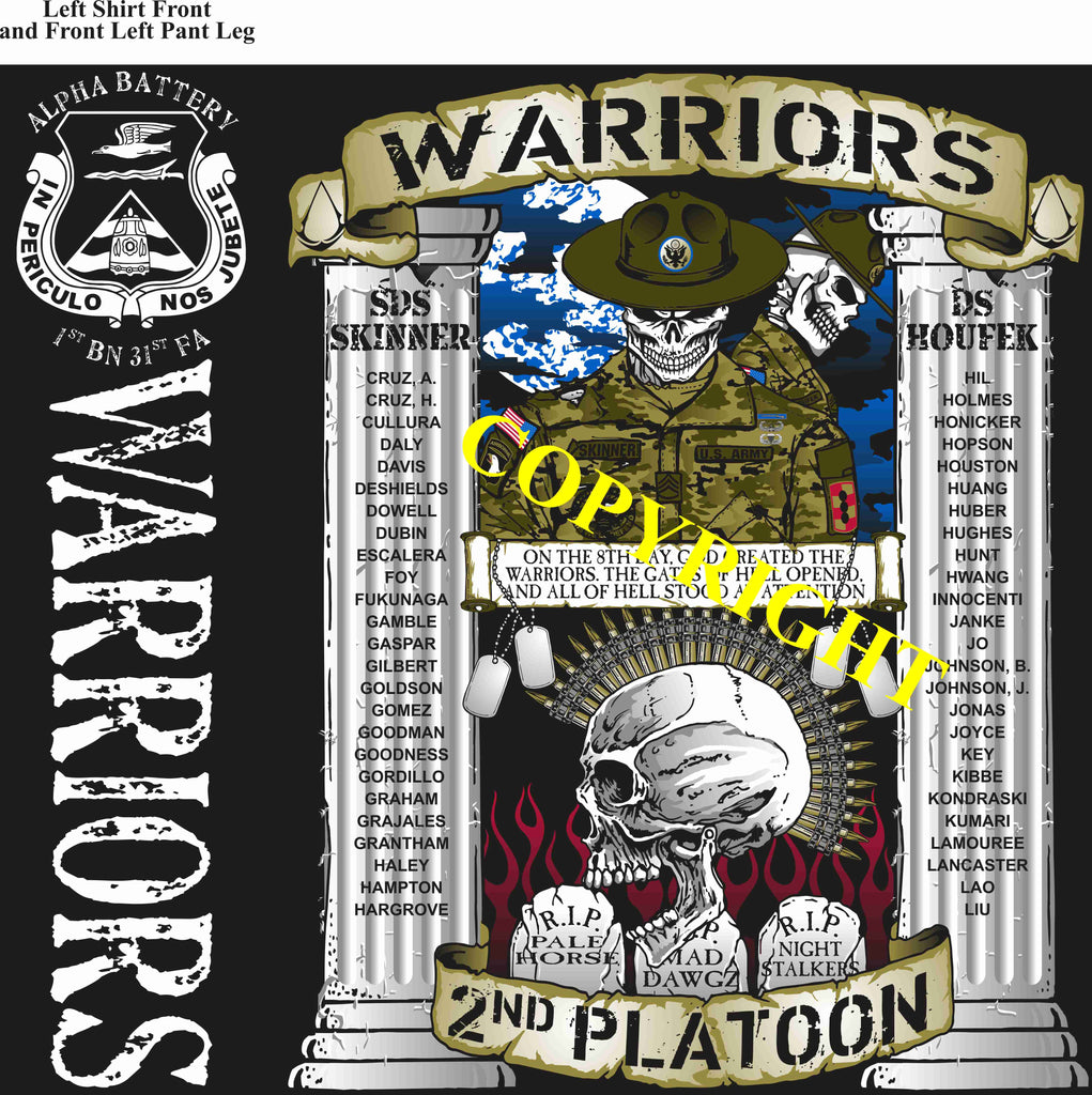 Platoon Shirts (2nd generation print) ALPHA 1st 31st WARRIORS JULY 2019