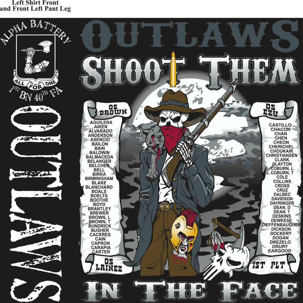Platoon Shirts (2nd generation print) ALPHA 1st 40th OUTLAWS AUG 2018