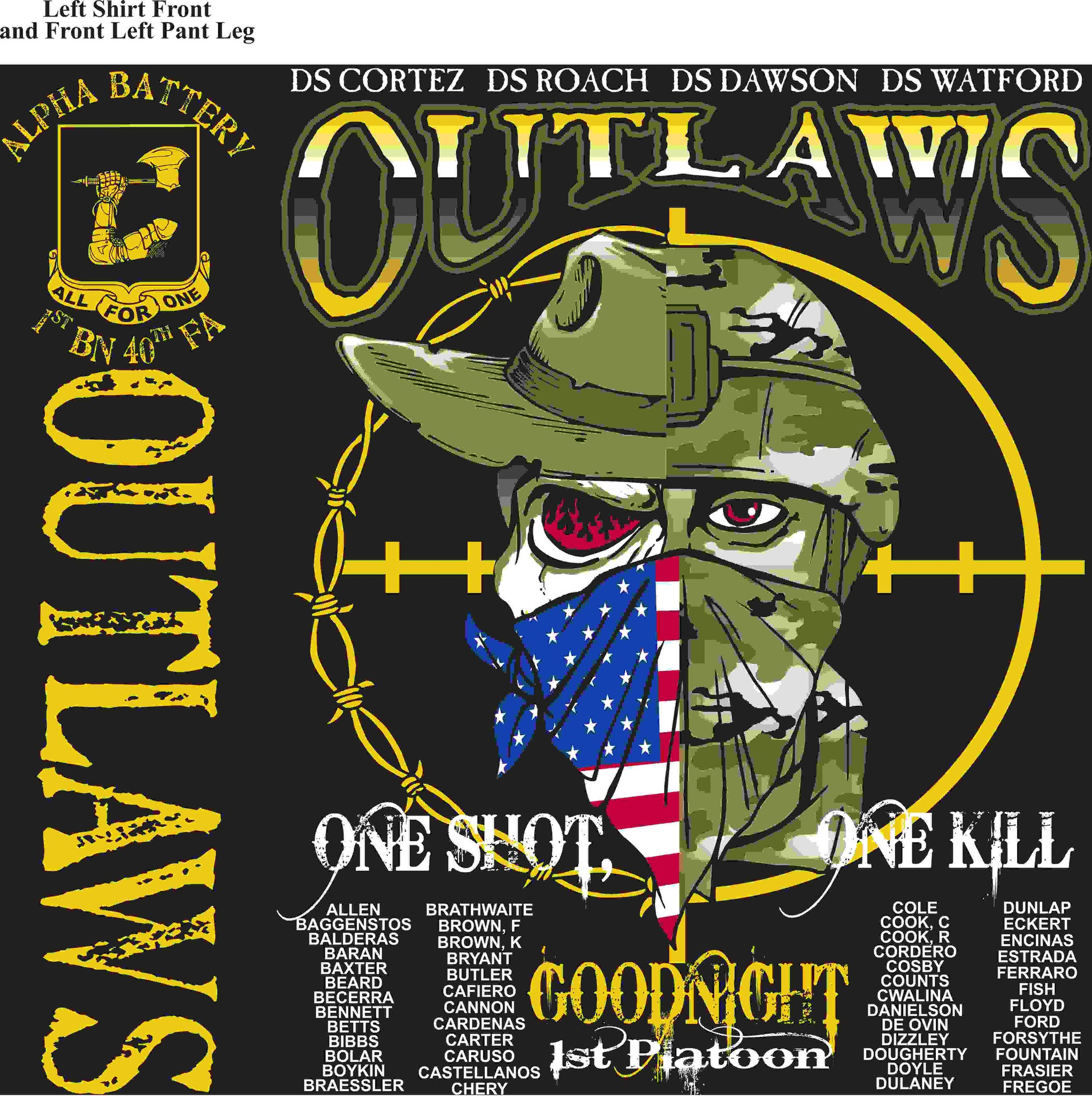PLATOON SHIRTS (2nd generation print) ALPHA 1st 40th OUTLAWS JUNE 2016