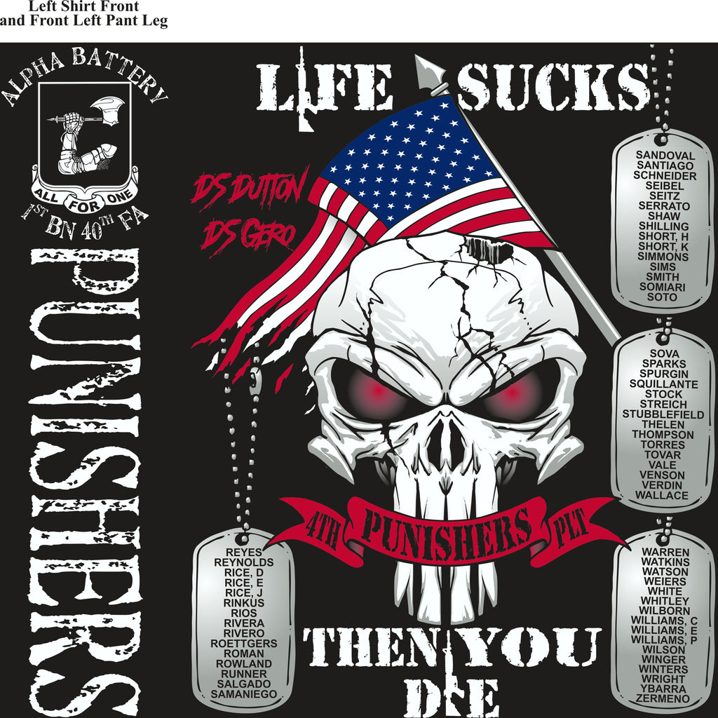 Platoon Shirts (2nd generation print) ALPHA 1st 40th PUNISHERS AUG 2018