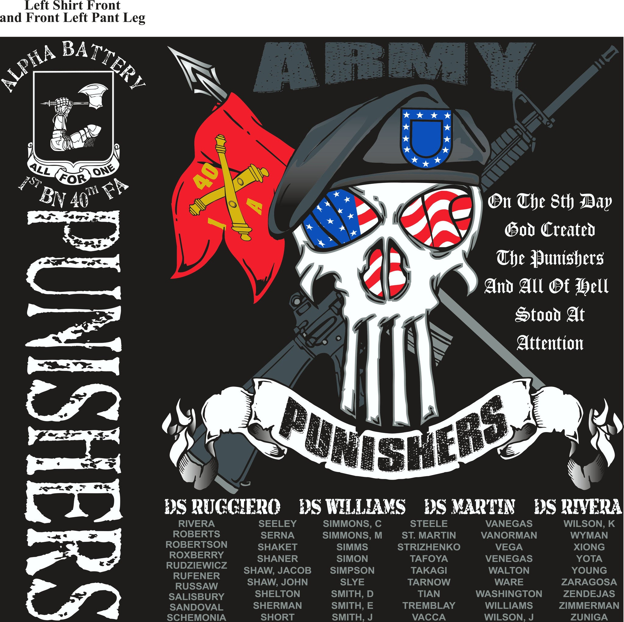 PLATOON SHIRTS (2nd generation print) ALPHA 1st 40th PUNISHERS DEC 2016