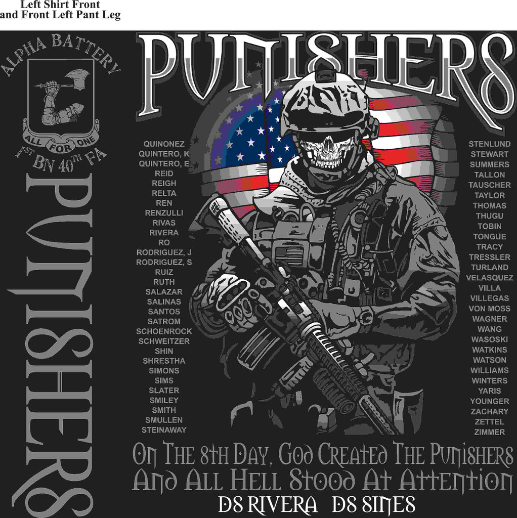 PLATOON SHIRTS (2nd generation print) ALPHA 1st 40th PUNISHERS MAR 2016