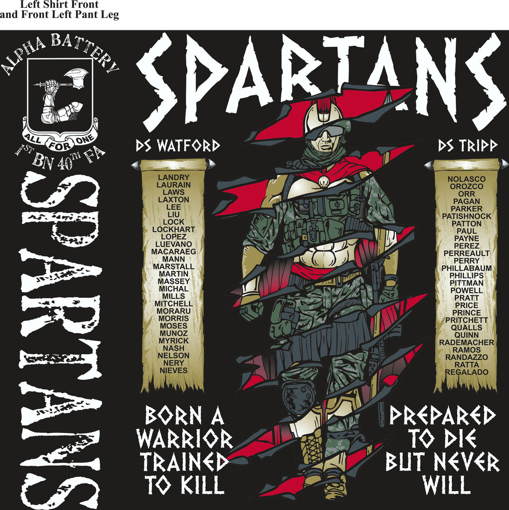 Platoon Shirts (digital) Alpha 1st 40th SPARTANS MAR 2015
