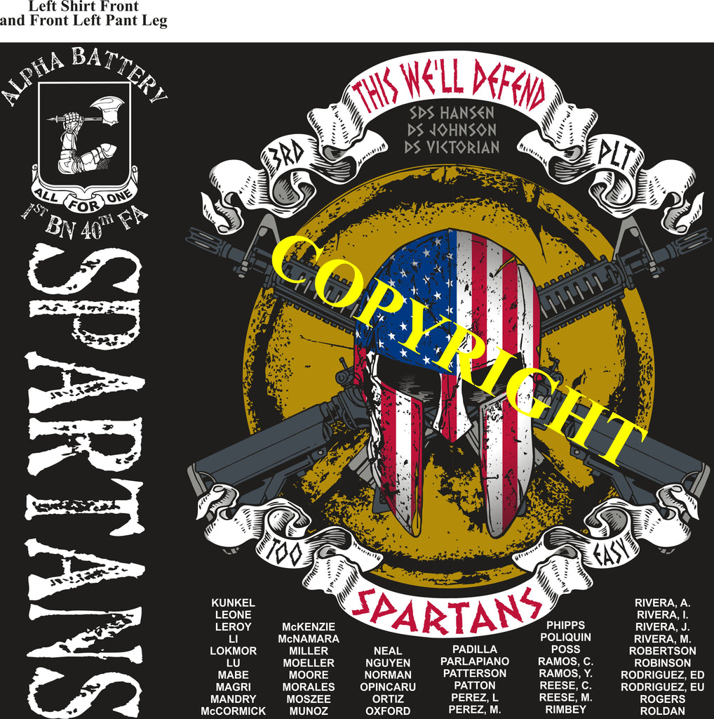 Platoon Shirts (2nd generation print) ALPHA 1st 40th SPARTANS SEPT 2019