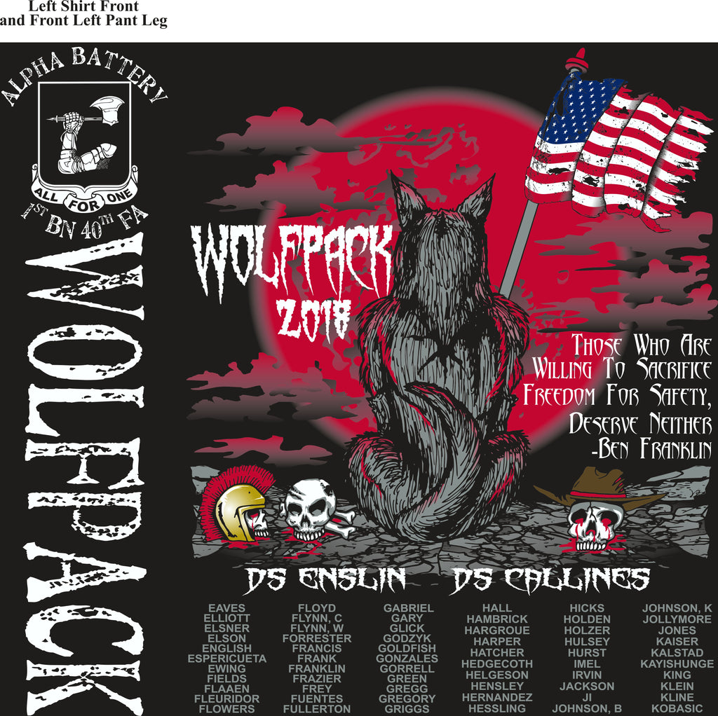 Platoon Shirts (2nd generation print) ALPHA 1st 40th WOLFPACK AUG 2018