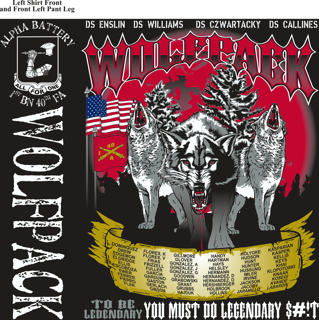 Platoon Shirts (2nd generation print) ALPHA 1ST 40TH WOLFPACK OCT 2017