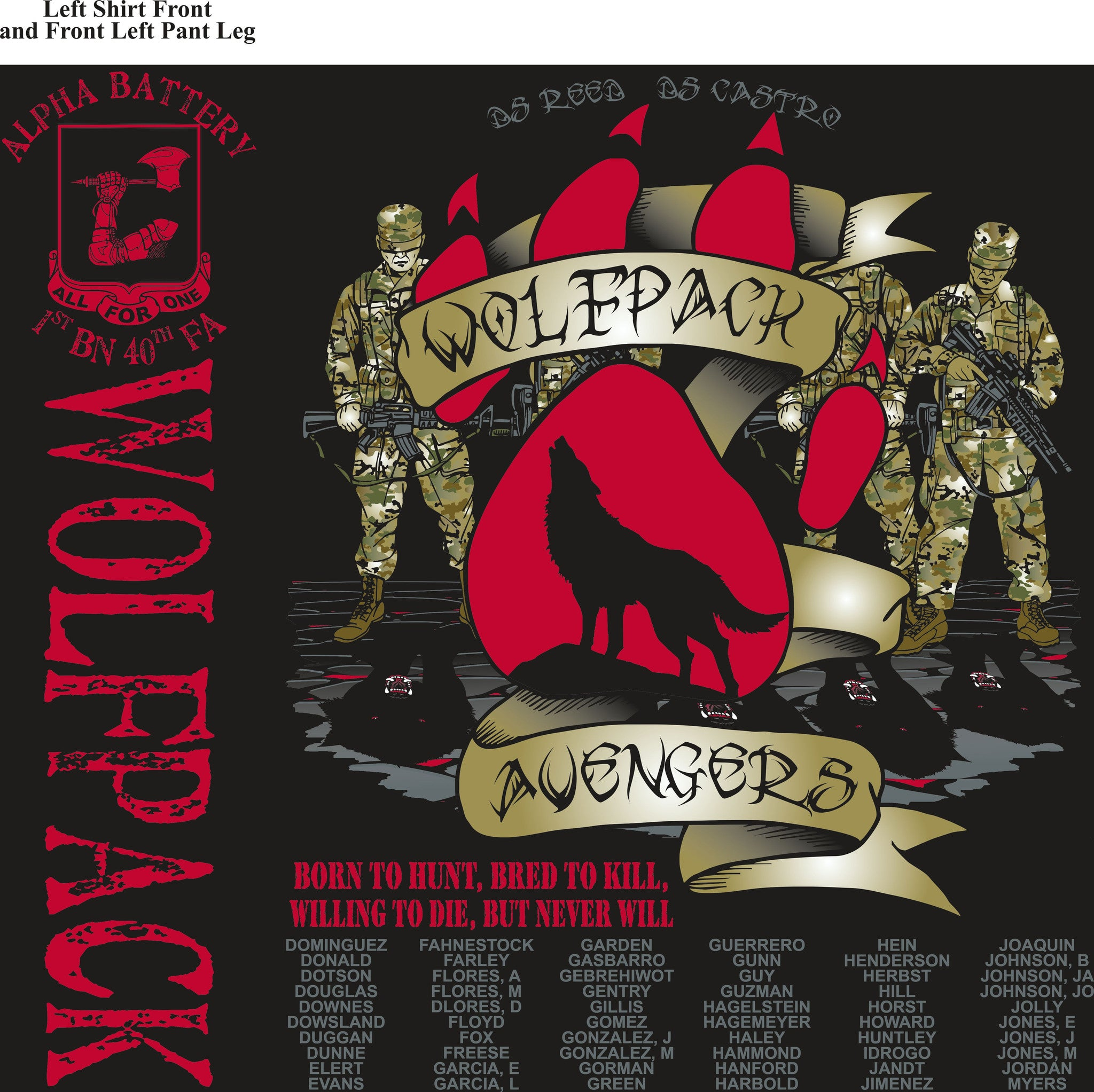 PLATOON SHIRTS (2nd generation print) ALPHA 1st 40th WOLFPACK SEPT 2016