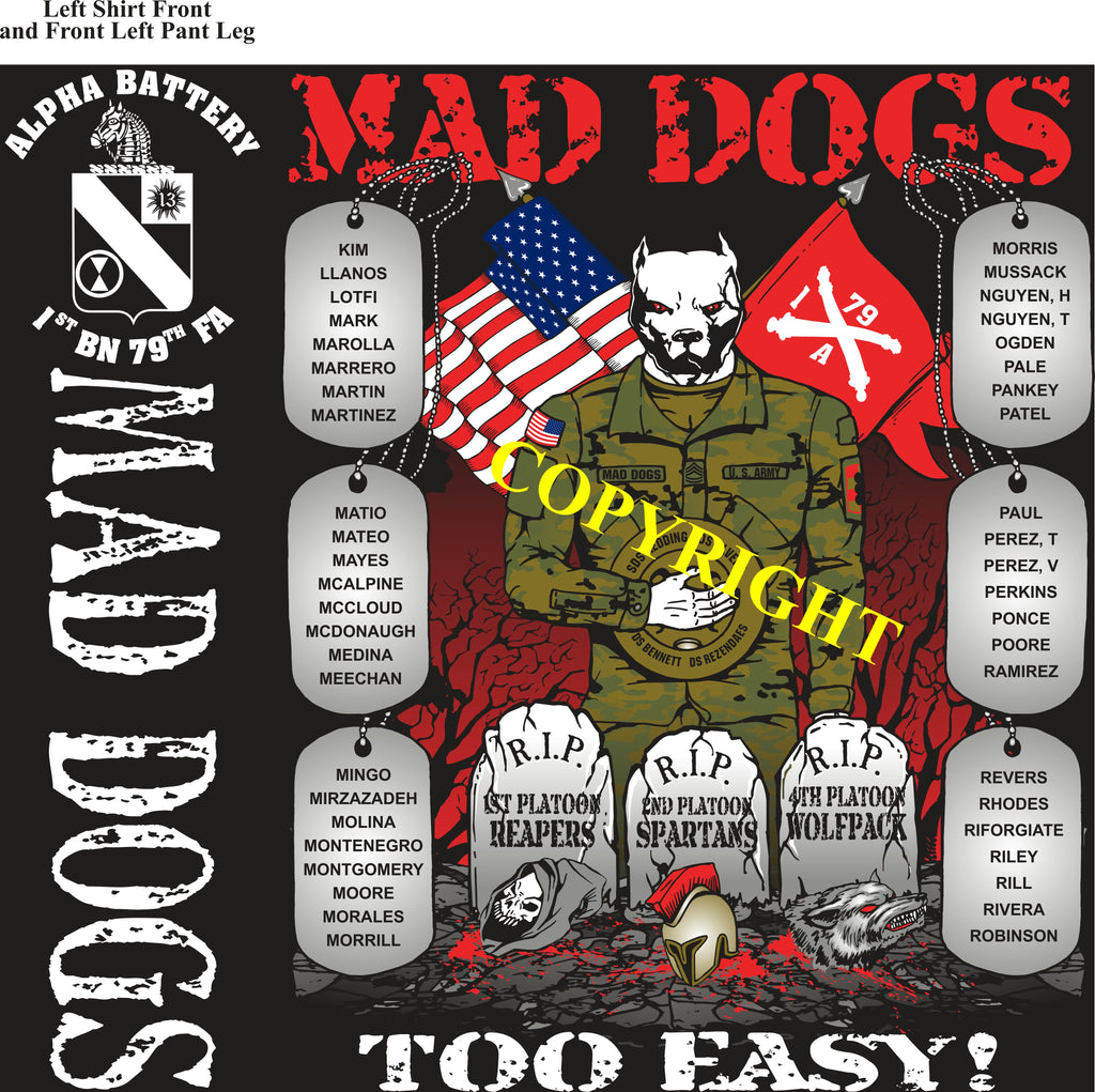 Platoon Shirts (2nd generation print) ALPHA 1st 79th MAD DOGS MAR 2019