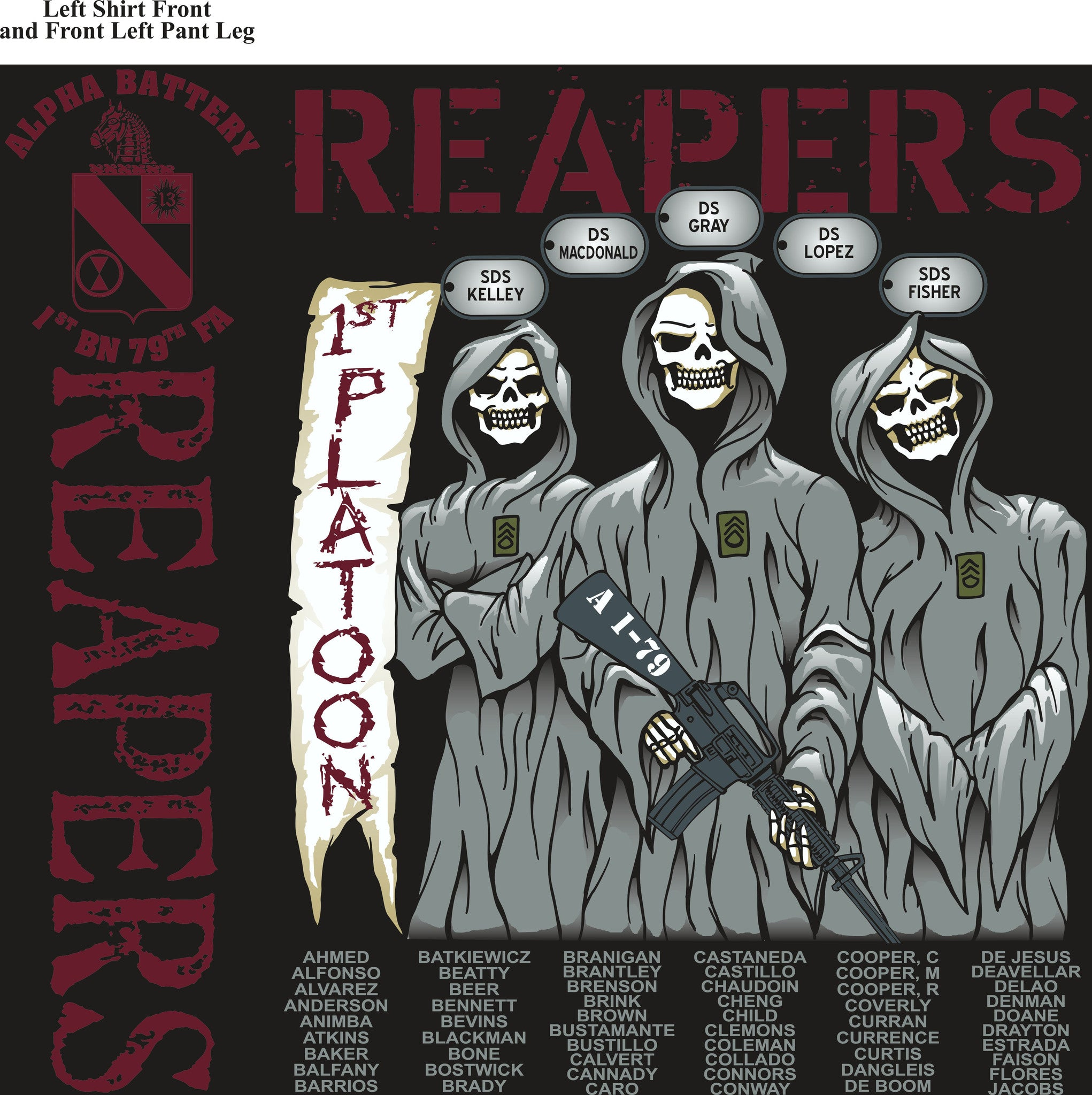 PLATOON SHIRTS (2nd generation print) ALPHA 1st 79th REAPERS SEPT 2016