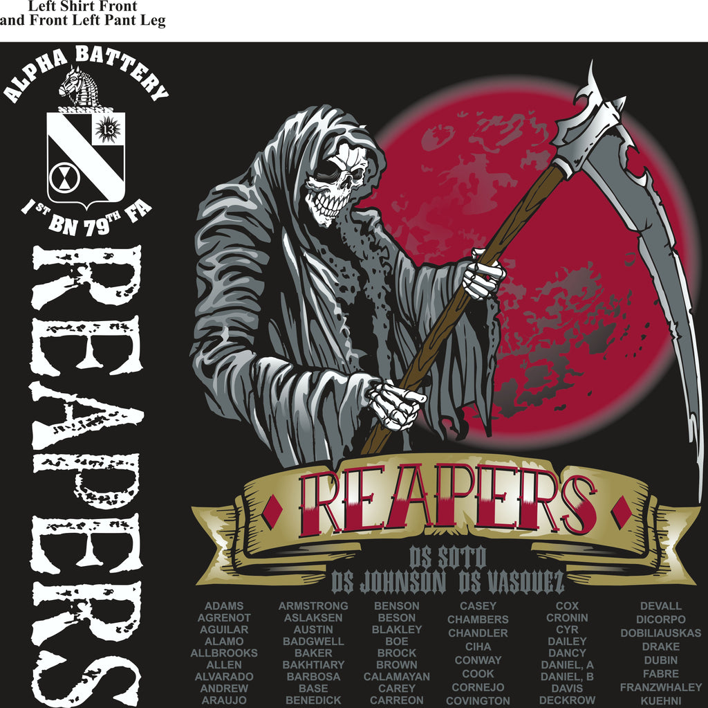 Platoon Shirts (2nd generation print) ALPHA 1st 79th REAPERS SEPT 2018