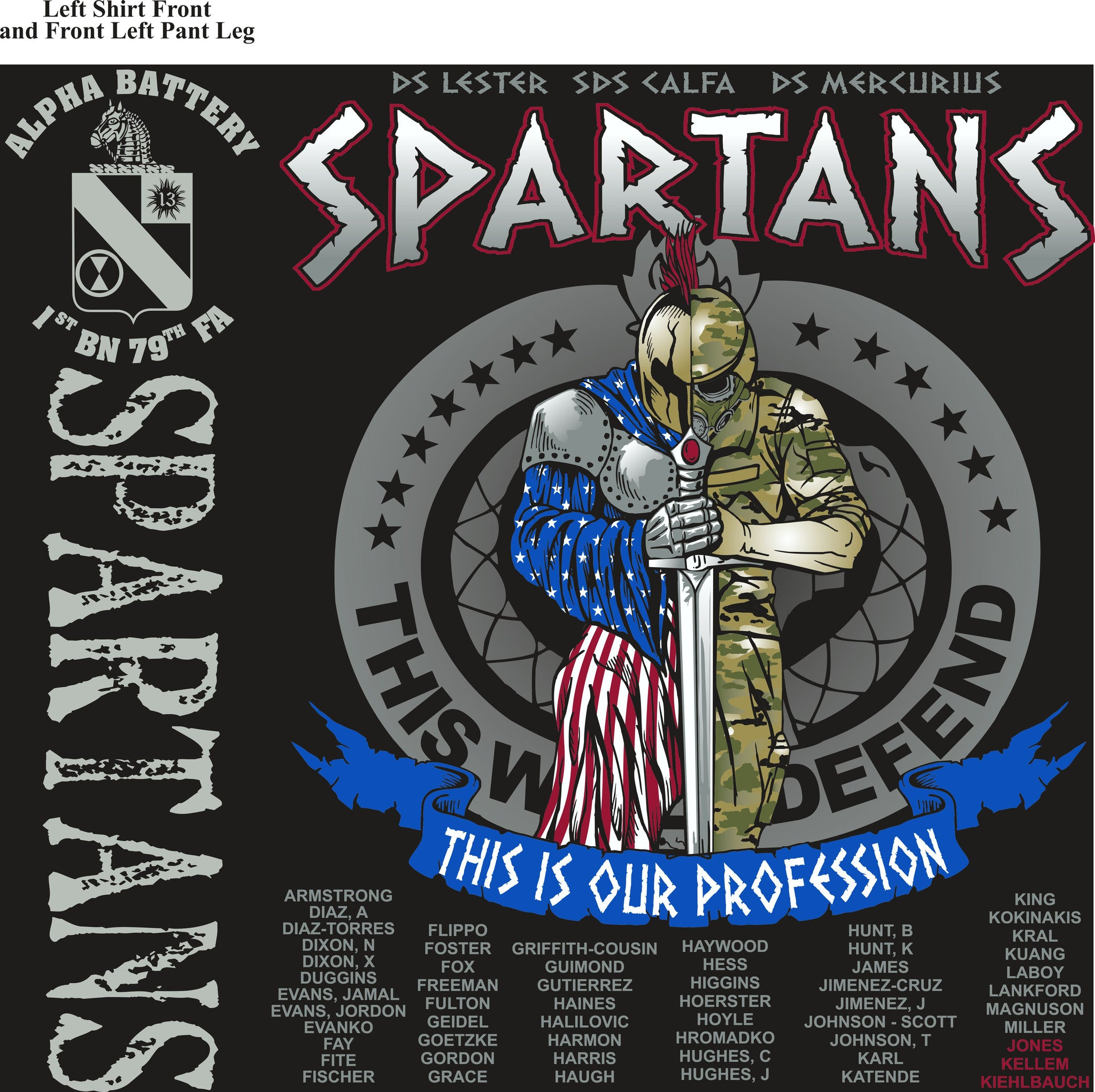 PLATOON SHIRTS (2nd generation print) ALPHA 1st 79th SPARTANS SEPT 2016
