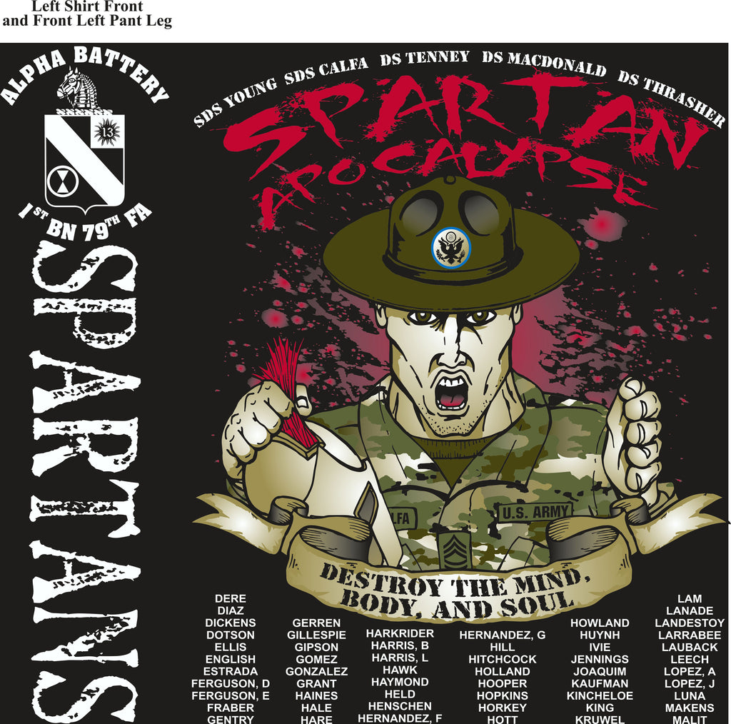 PLATOON SHIRTS (2nd generation print) Alpha 1st 79th SPARTANS MAR 2017
