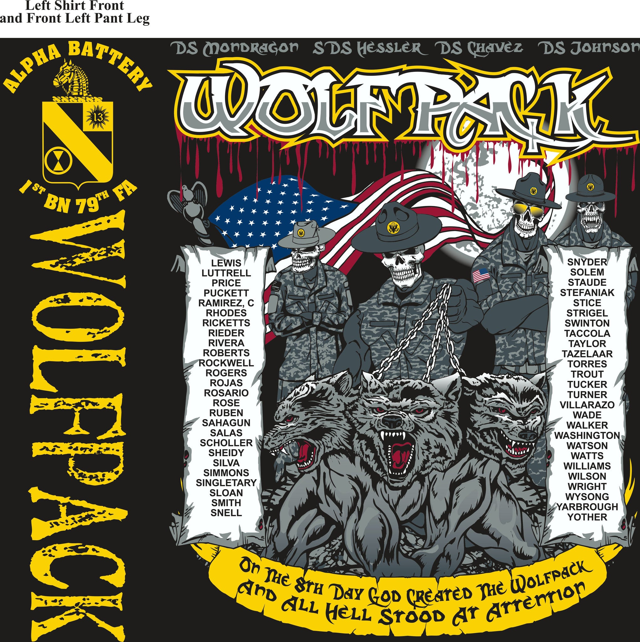PLATOON SHIRTS (2nd generation print) ALPHA 1st 79th WOLFPACK SEPT 2016
