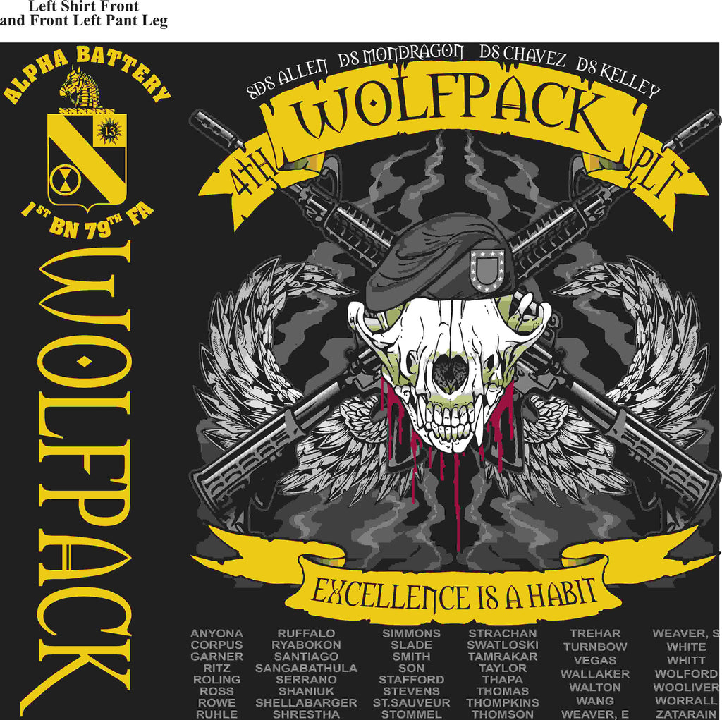 PLATOON SHIRTS (2nd generation print) ALPHA 1st 79th WOLFPACK MAR 2016