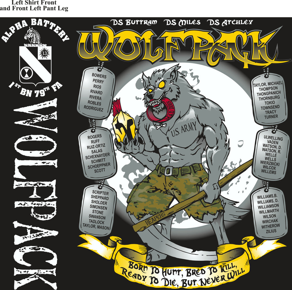Platoon Shirts (2nd generation print) ALPHA 1st 79th WOLFPACK SEPT 2018
