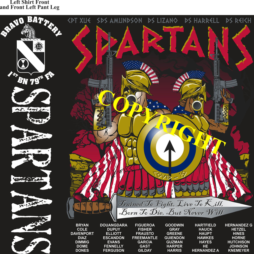 Platoon Shirts (2nd generation print) BRAVO 1st 79th SPARTANS MAY 2020