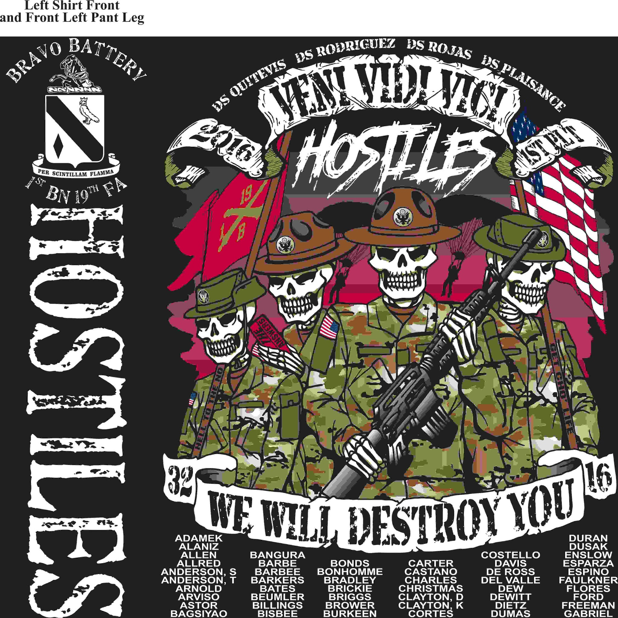 PLATOON SHIRTS (2nd generation print) BRAVO 1st 19th HOSTILES APR 2016