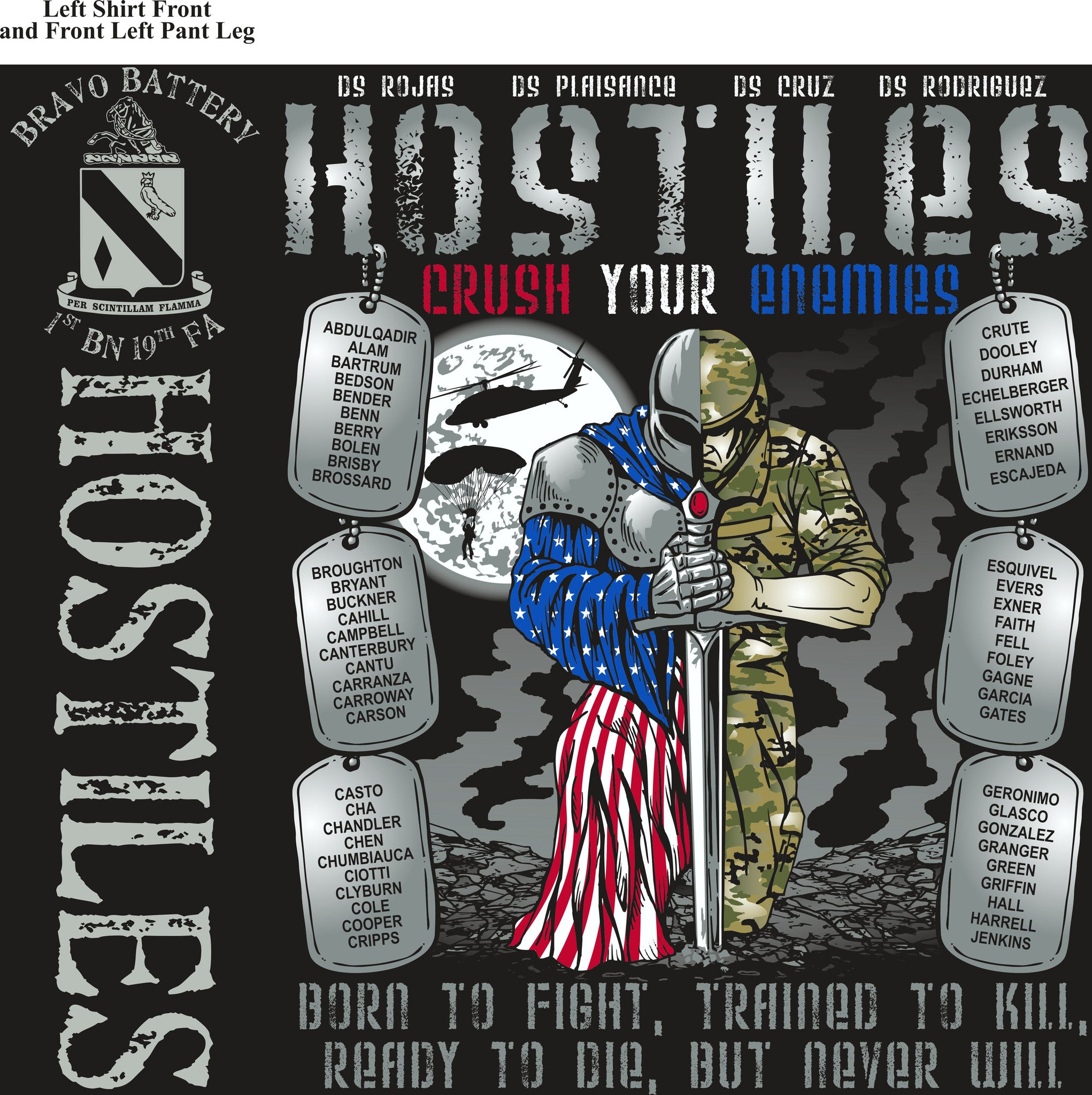 PLATOON SHIRTS (2nd generation print) BRAVO 1st 19th HOSTILES AUG 2016