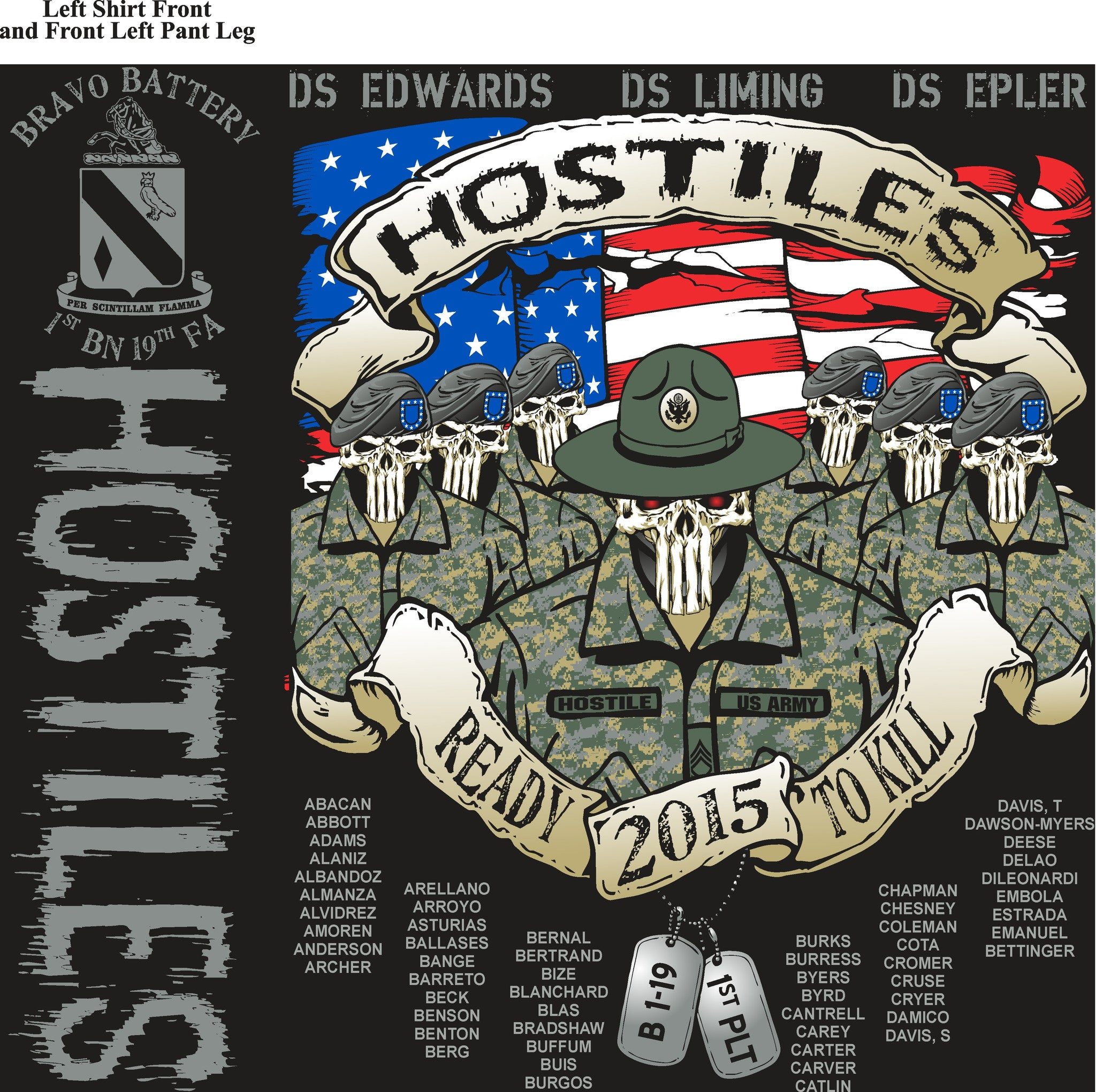 Platoon Shirts BRAVO 1st 19th HOSTILES APR 2015