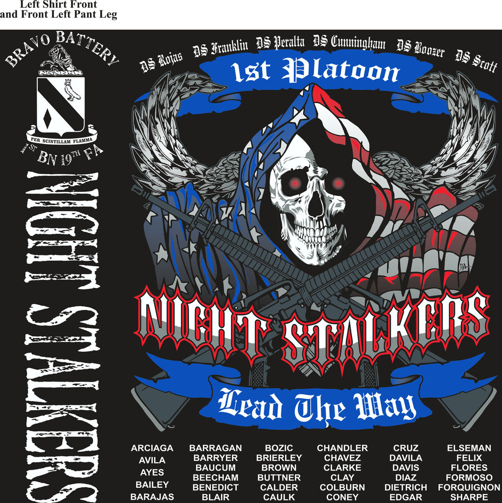 PLATOON SHIRTS (2nd generation print) BRAVO 1st 19th NIGHT STALKERS FEB 2017