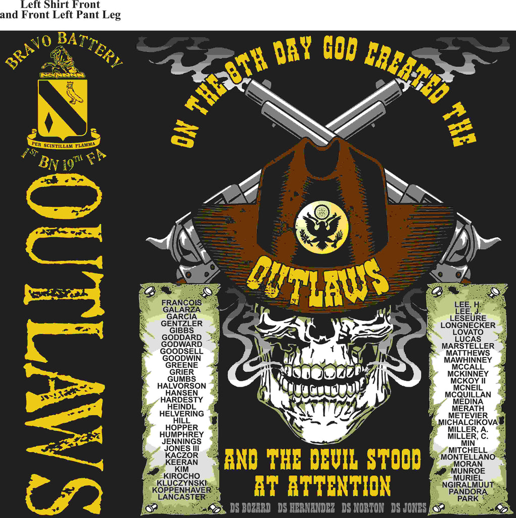 PLATOON SHIRTS (2nd generation print) BRAVO 1st 19th OUTLAWS APR 2016