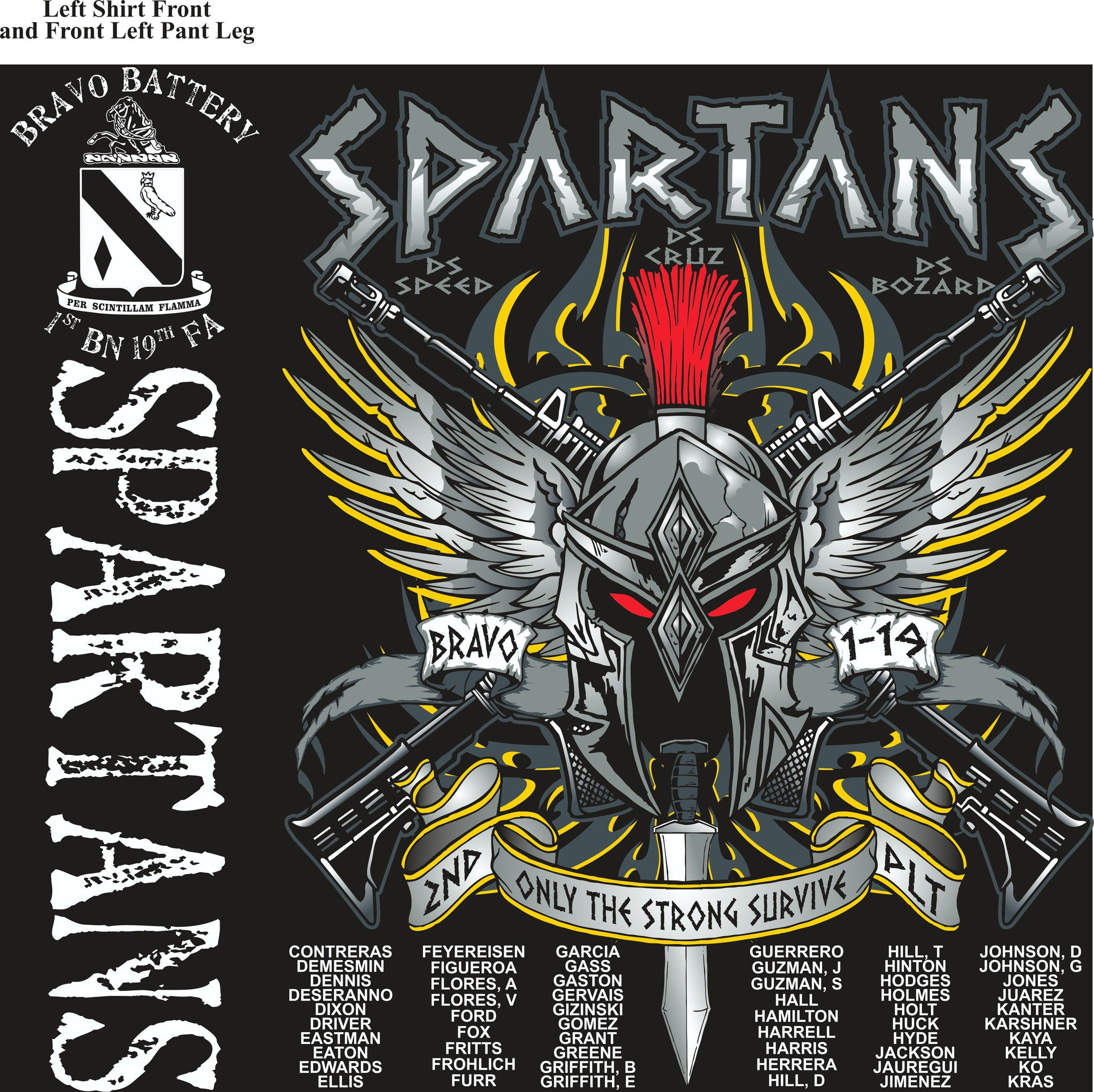 PLATOON SHIRTS (2nd generation print) BRAVO 1st 19th SPARTANS NOV 2016