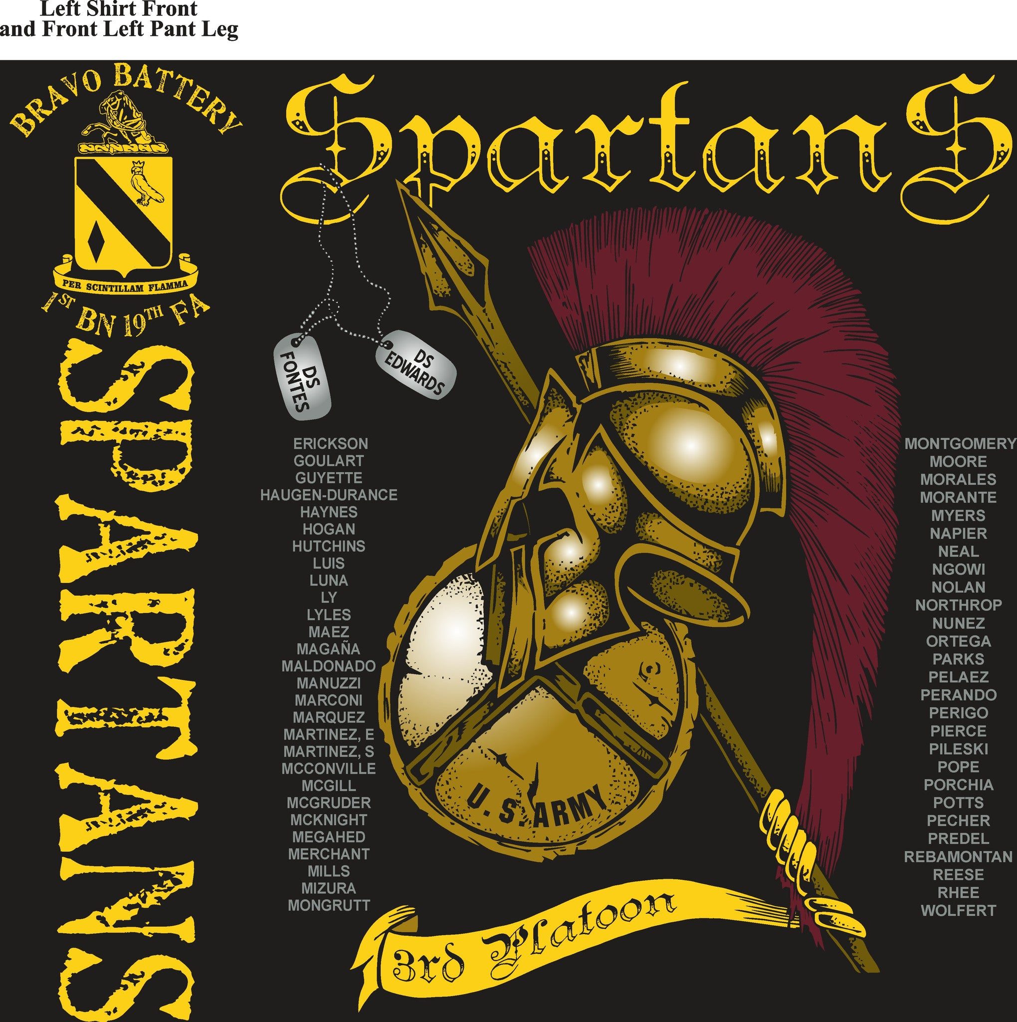 Platoon Shirts BRAVO 1st 19th SPARTANS JAN 2015