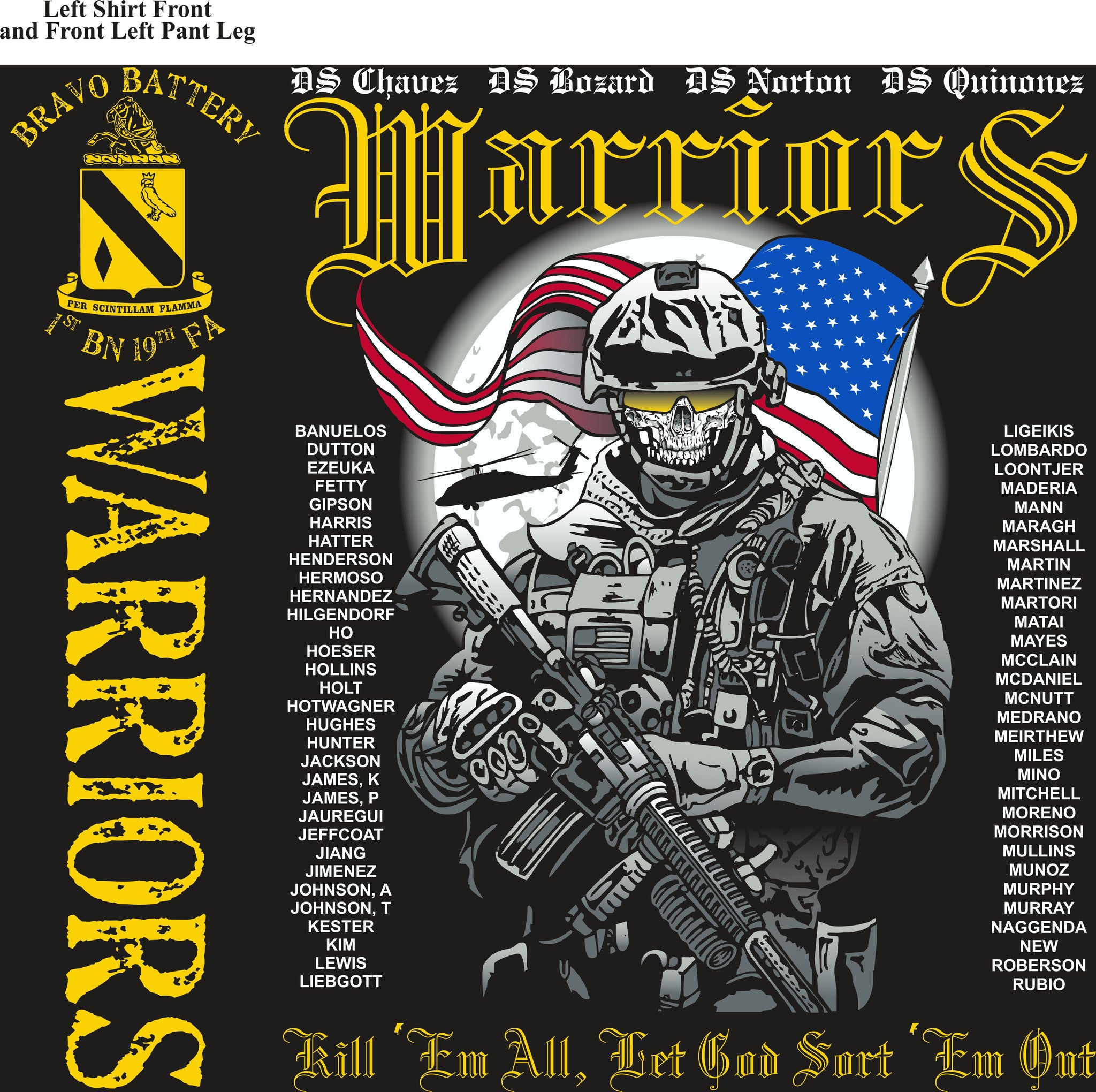 PLATOON SHIRTS (2nd generation print) BRAVO 1st 19th WARRIORS AUG 2016