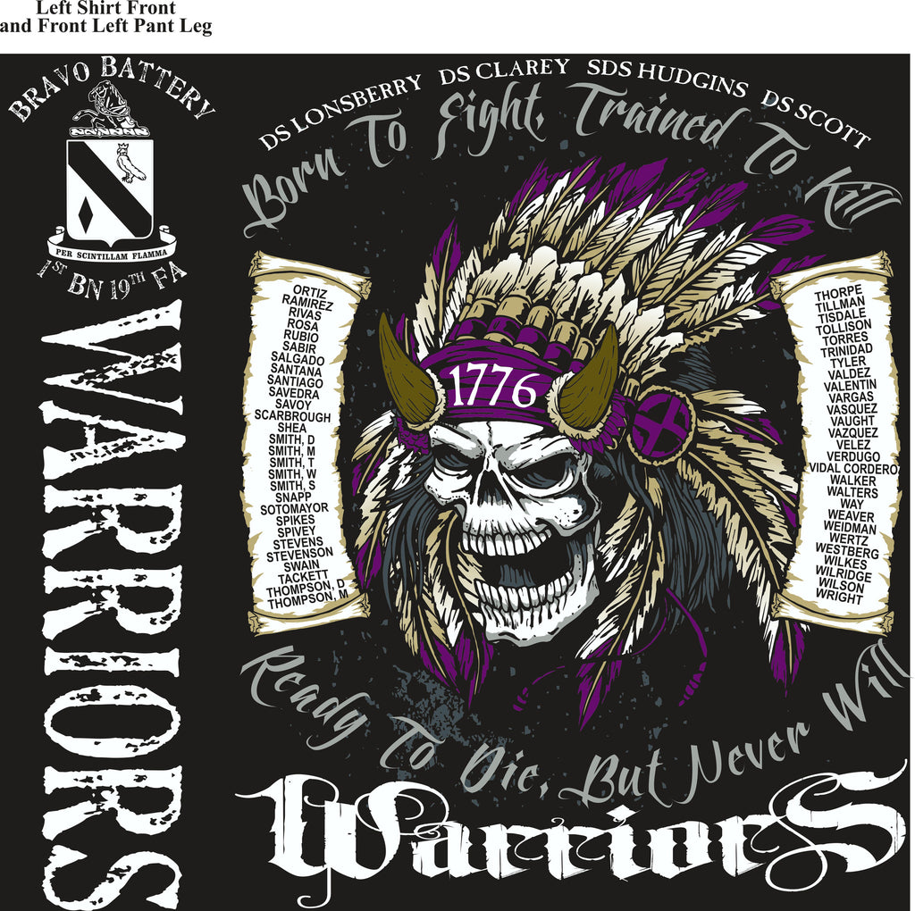 PLATOON SHIRTS (2nd generation print) BRAVO 1st 19th WARRIORS NOV 2016
