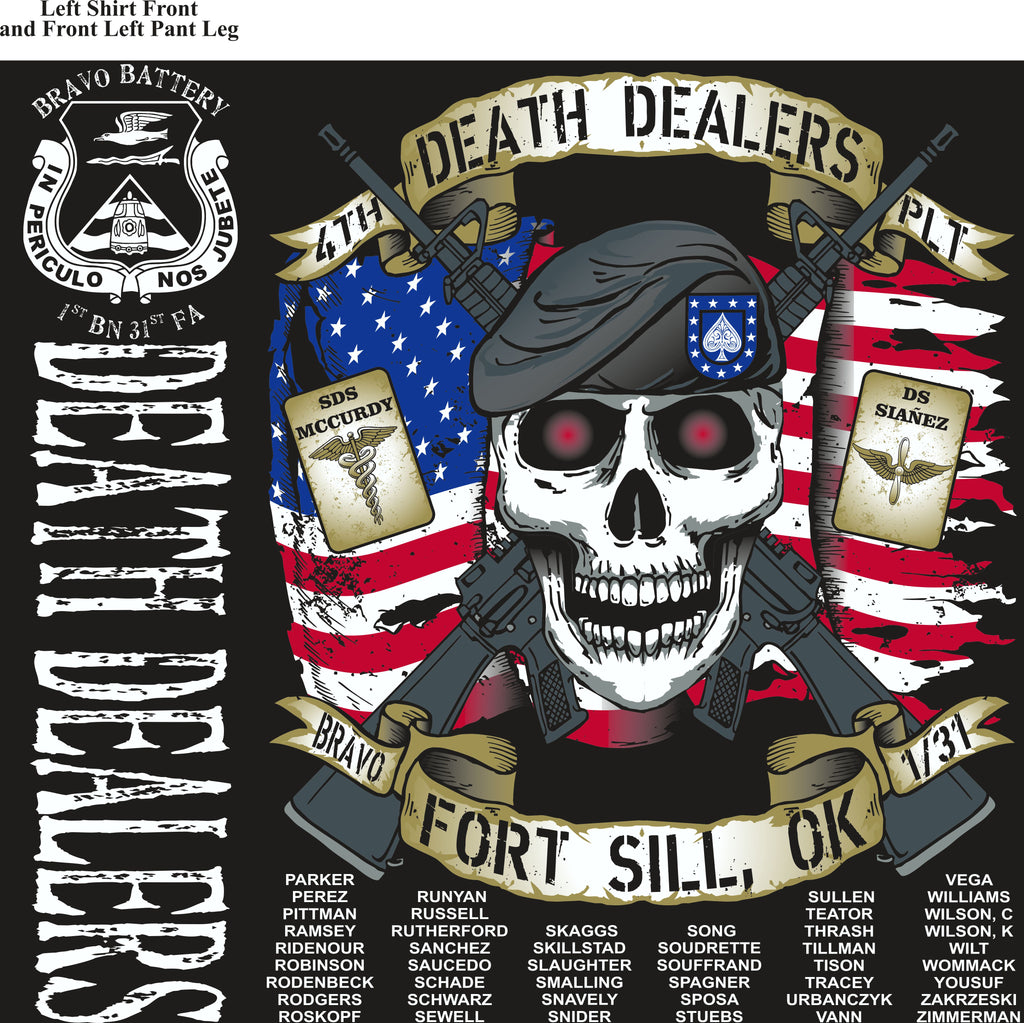Platoon Shirts (2nd generation print) BRAVO 1st 31st DEATH DEALERS AUG 2018