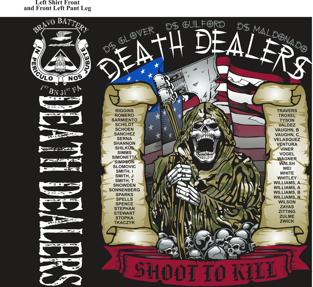PLATOON SHIRTS (2nd generation print) BRAVO 1st 31st DEATH DEALERS JULY 2017