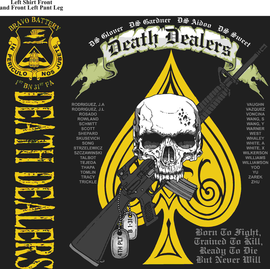 PLATOON SHIRTS (2nd generation print) BRAVO 1st 31st DEATH DEALERS JUNE 2016